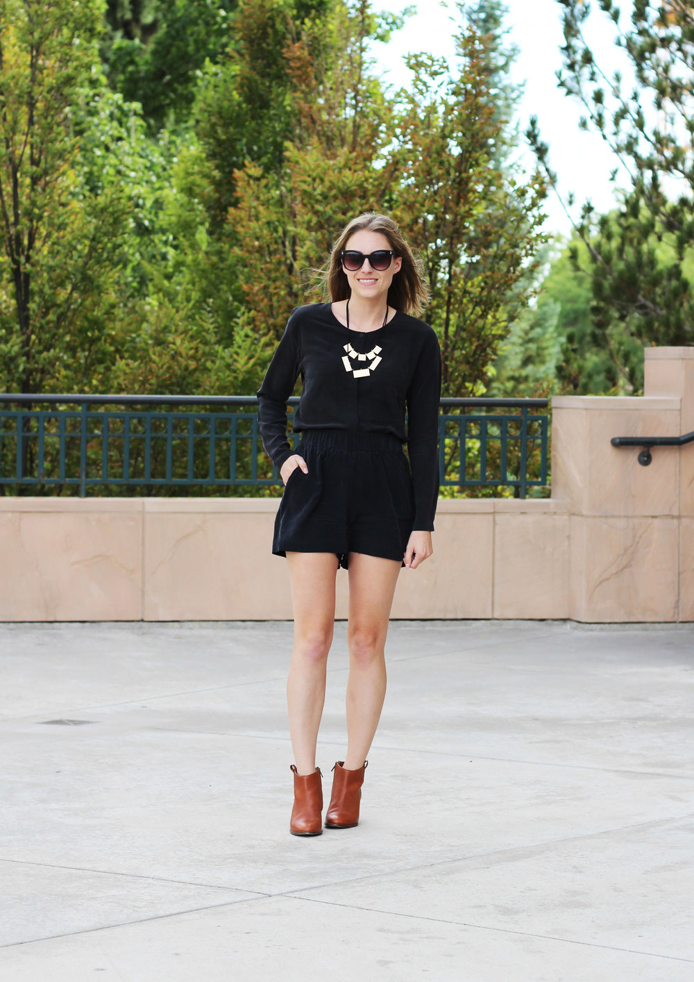 Everlane black silk top, Grana black silk shorts, Madewell 'Billie' boots — Cotton Cashmere Cat Hair
