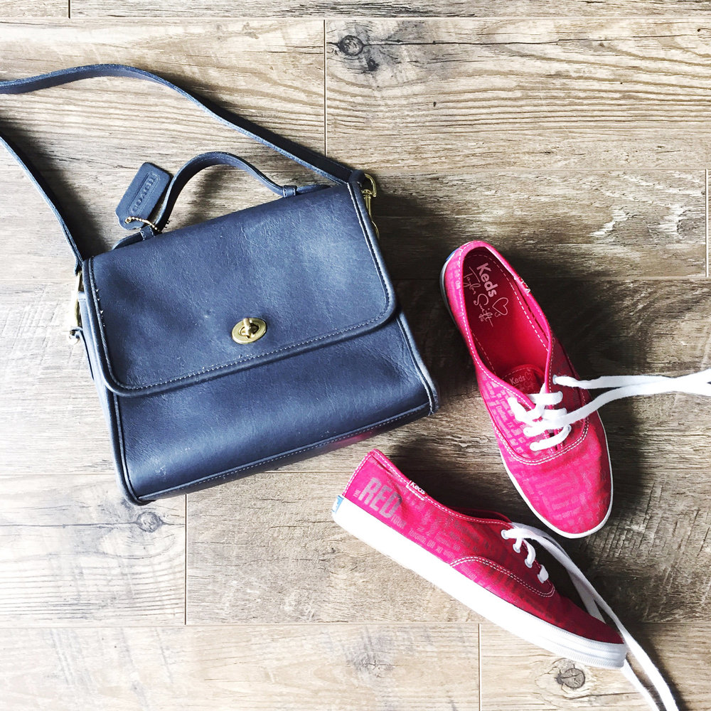 Navy Coach 'Court' bag + Taylor Swift Red Tour Keds — via Cotton Cashmere Cat Hair