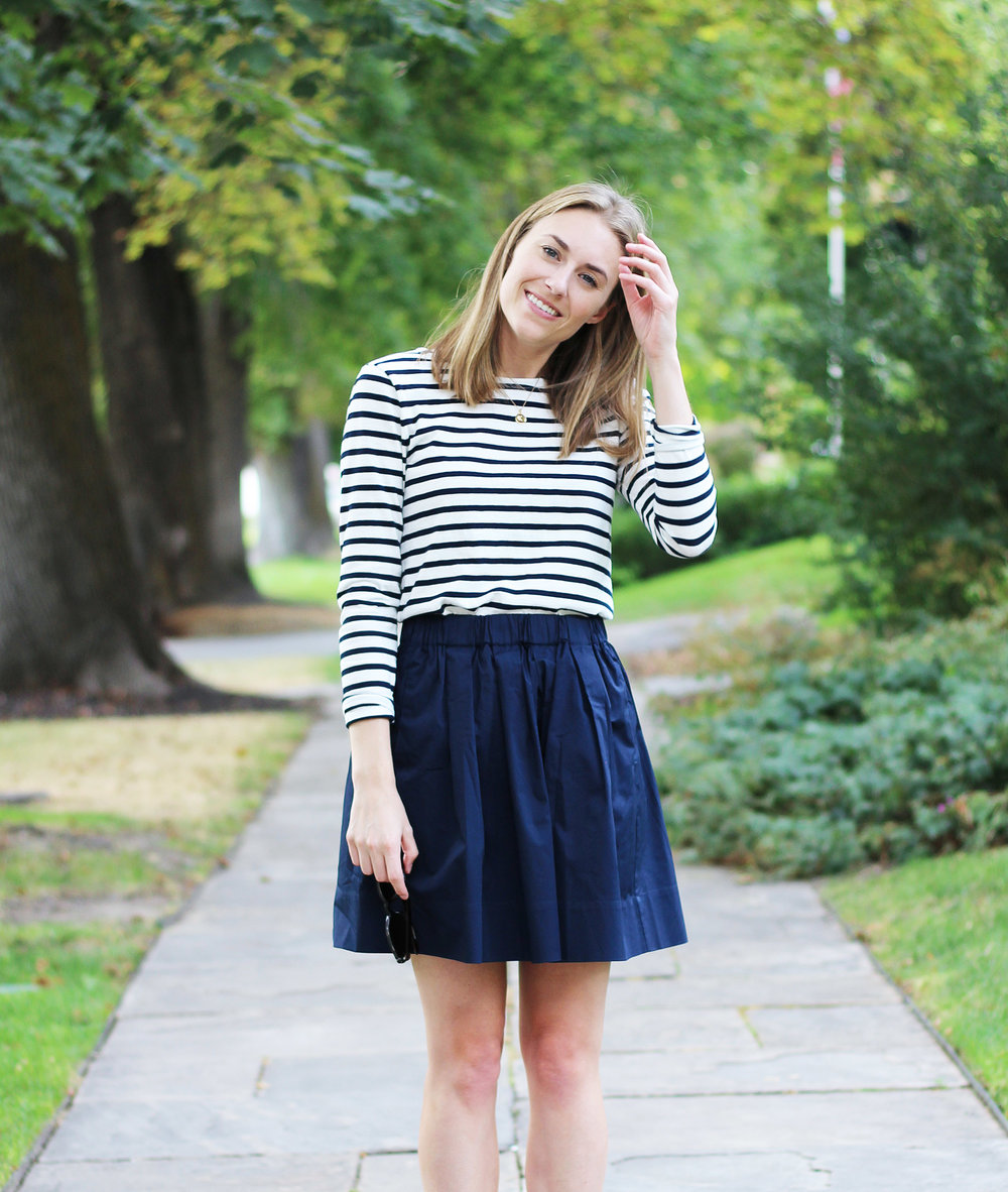 Navy striped tee + Everlane navy cotton poplin skirt — Cotton Cashmere Cat Hair