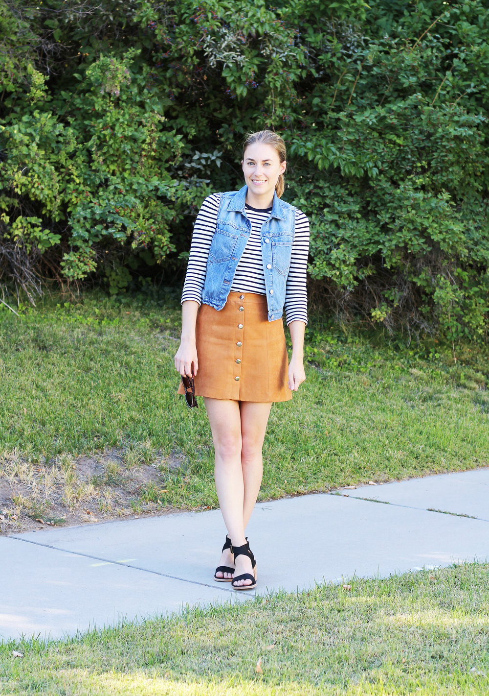 70s-inspired outfit with a denim vest and suede mini skirt — Cotton Cashmere Cat Hair