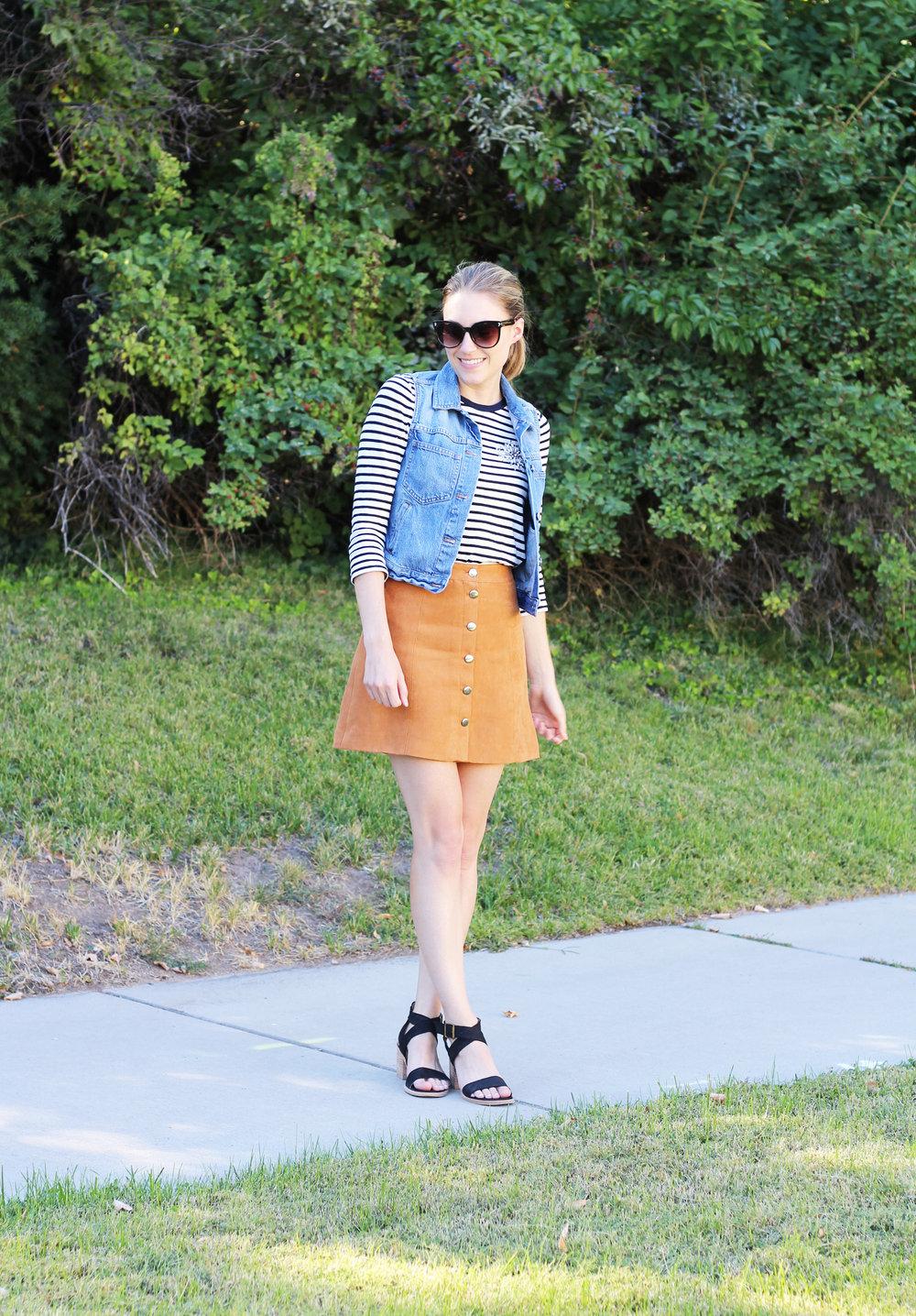 Madewell denim vest, J.Crew striped tee, H&M suede skirt, Steve Madden sandals — Cotton Cashmere Cat Hair