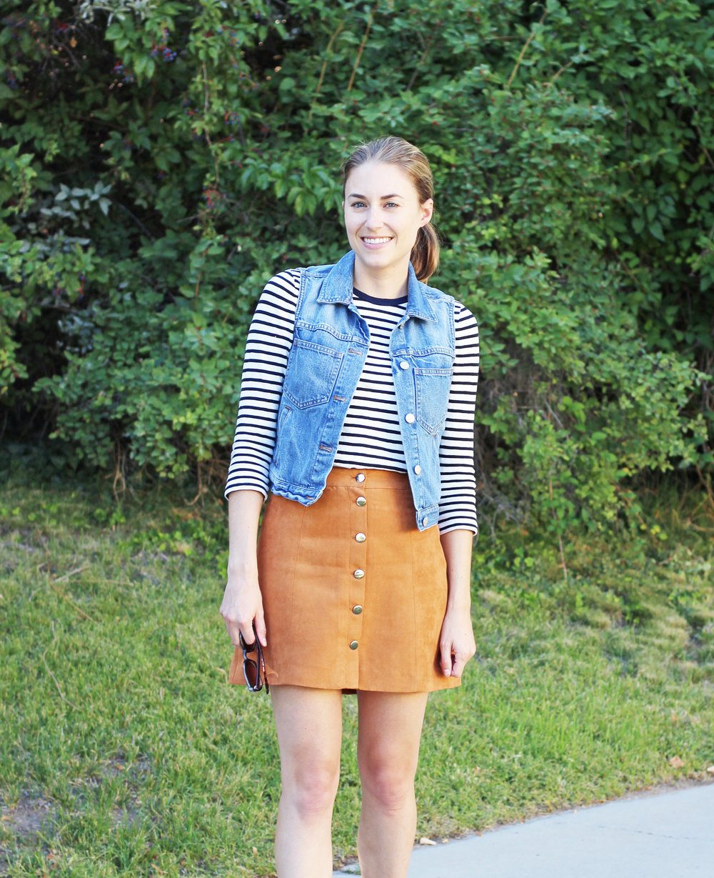 Denim vest outfit with striped tee and tan suede skirt — Cotton Cashmere Cat Hair