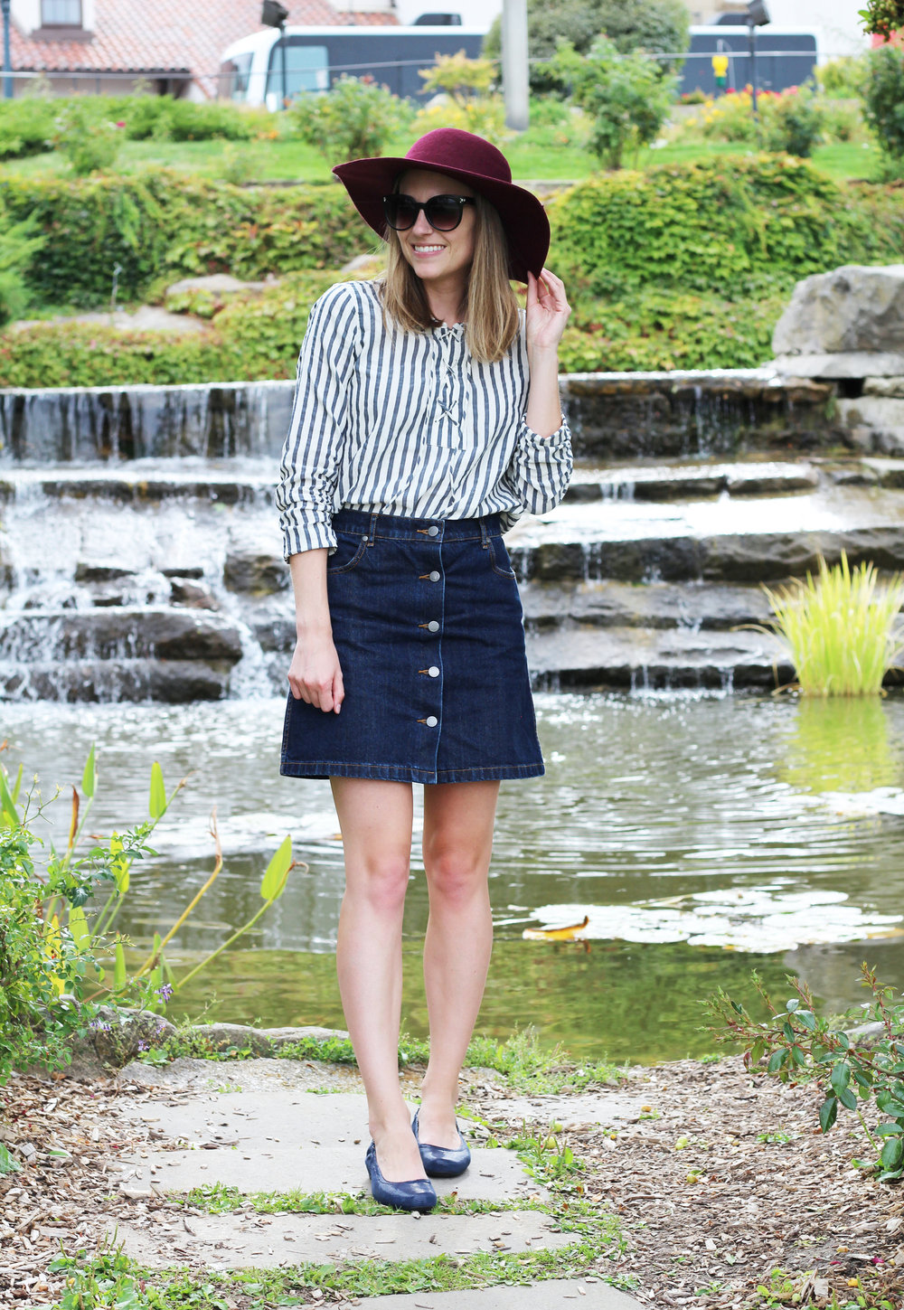 Denim skirt outfit with striped top, floppy felt hat, and Earthies 'Tolo' flats — Cotton Cashmere Cat Hair