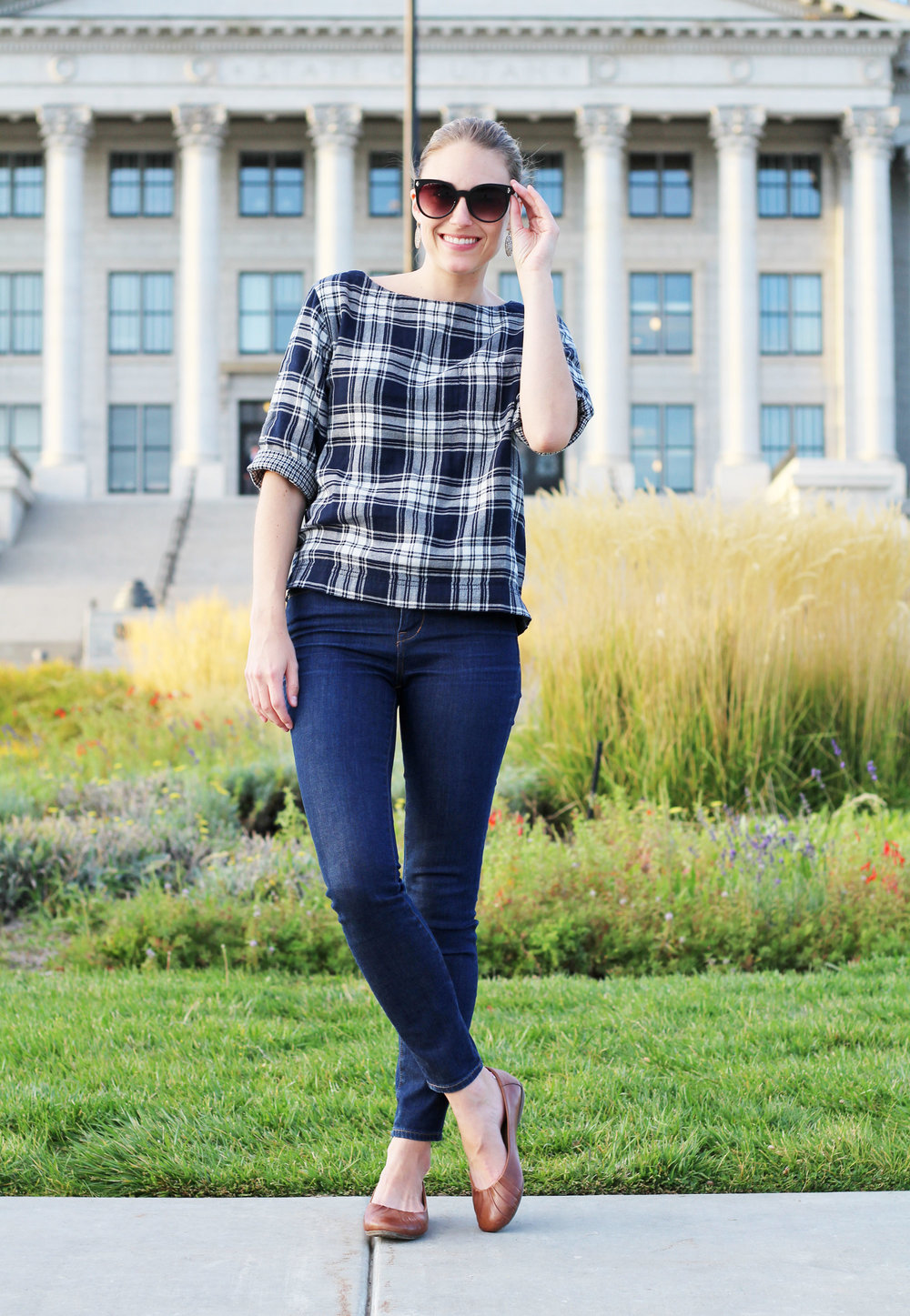 Earth 'Bellwether' flats with plaid top and high-rise skinny jeans — Cotton Cashmere Cat Hair