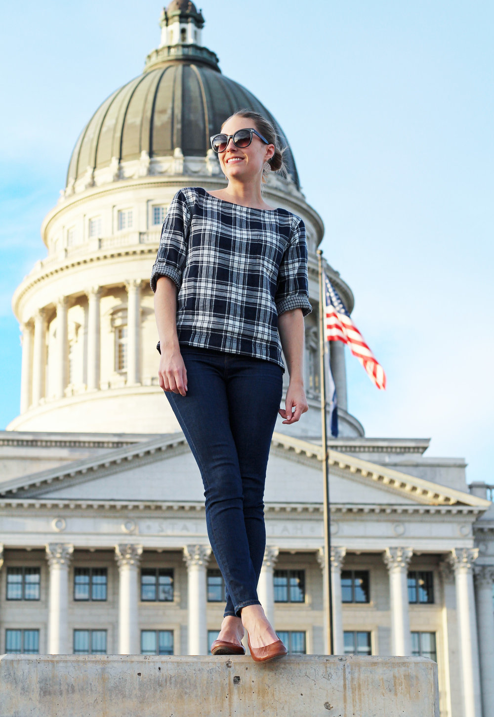 Fall outfit with plaid top, high-rise skinny jeans, and Earth 'Bellwether' flats — Cotton Cashmere Cat Hair