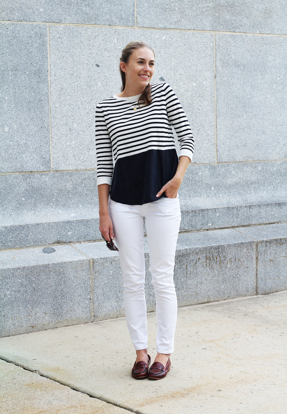 Nautical fall outfit: Navy striped top with white skinny jeans and burgundy loafers — Cotton Cashmere Cat Hair