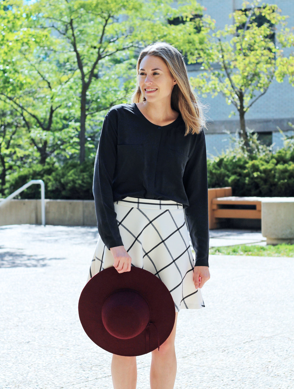Burgundy felt floppy hat outfit with black silk top and windowpane skirt — Cotton Cashmere Cat Hair