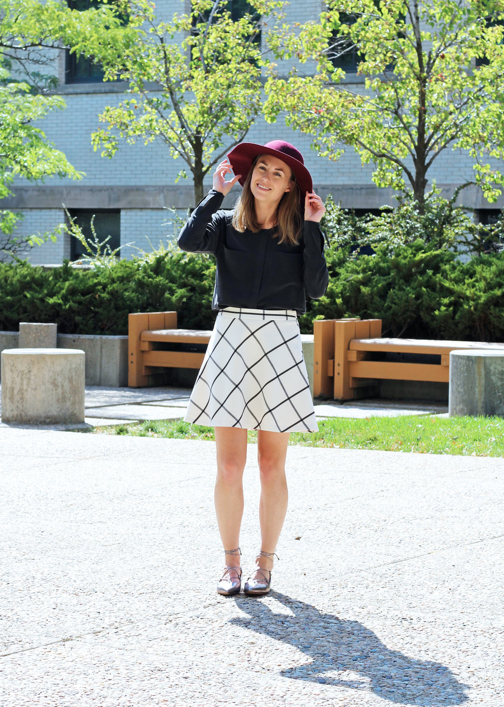 Leith felt floppy hat, Everlane black silk pocket tee, Loft windowpane skirt, Halogen lace-up flats — Cotton Cashmere Cat Hair