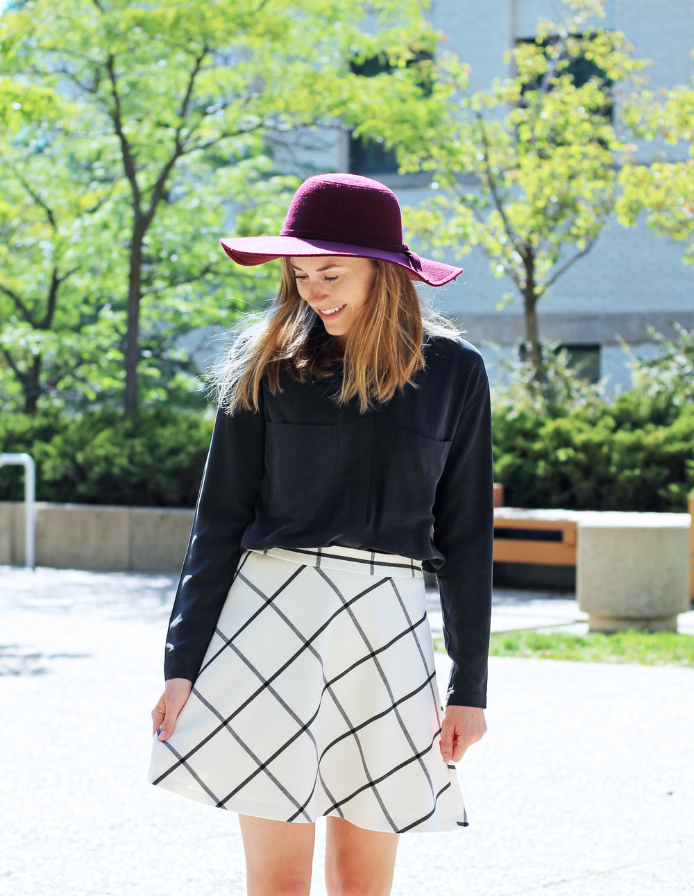 Fall outfit with burgundy floppy hat, black silk top, windowpane skirt — Cotton Cashmere Cat Hair