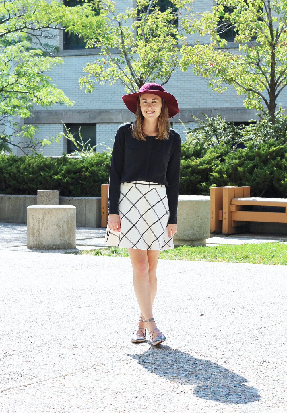 Fall outfit: Burgundy floppy hat, black silk shirt, windowpane skirt, lace-up flats — Cotton Cashmere Cat Hair
