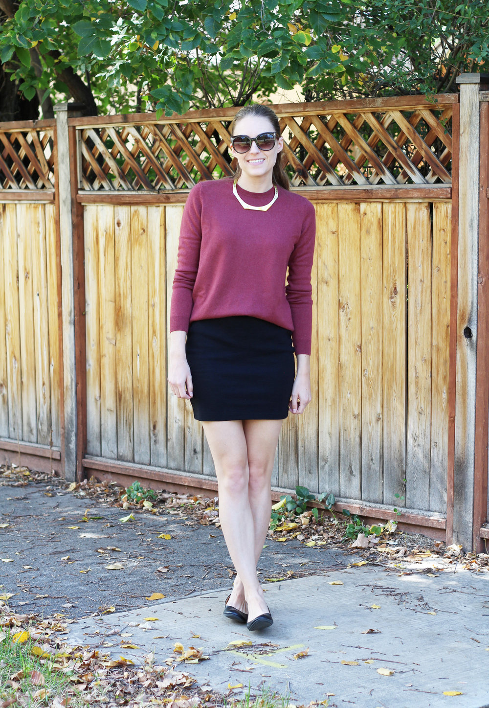 Everlane cashmere sweater with black mini skirt, ballet flats, gold choker — Cotton Cashmere Cat Hair