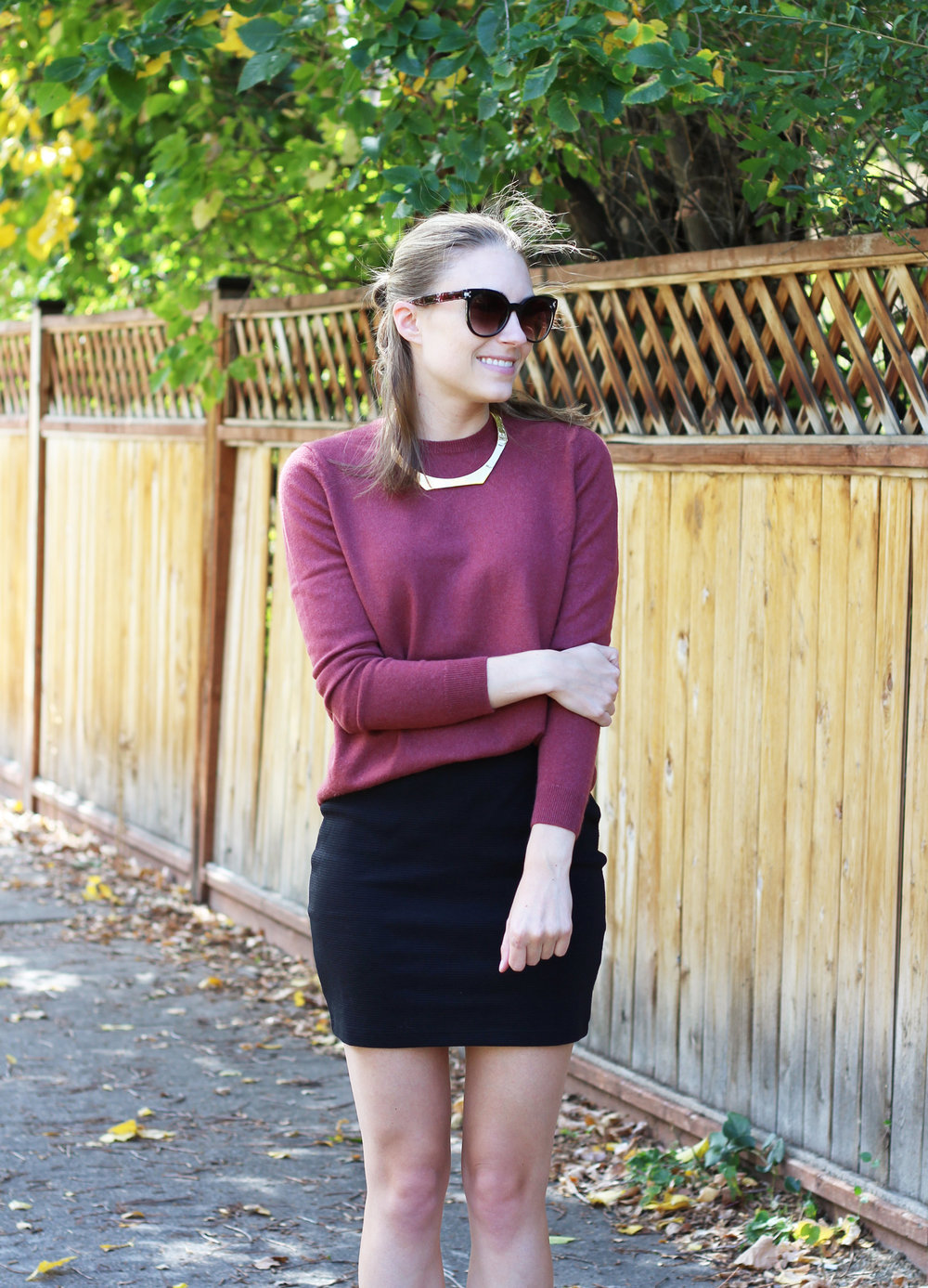 Fall outfit: Everlane cashmere sweater + black mini skirt + gold choker — Cotton Cashmere Cat Hair