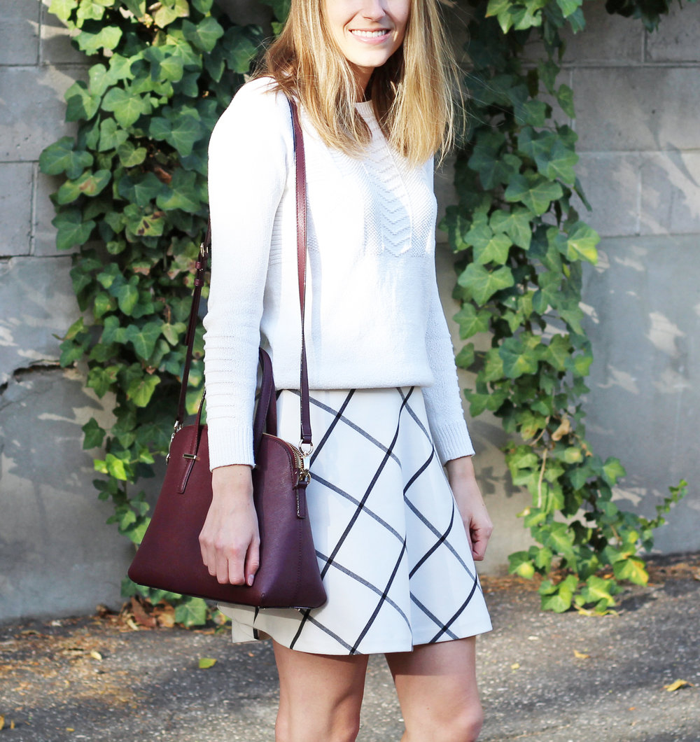 Kate Spade 'Cedar Street Maise' bag in mulled wine + ivory sweater + windowpane skirt — Cotton Cashmere Cat Hair