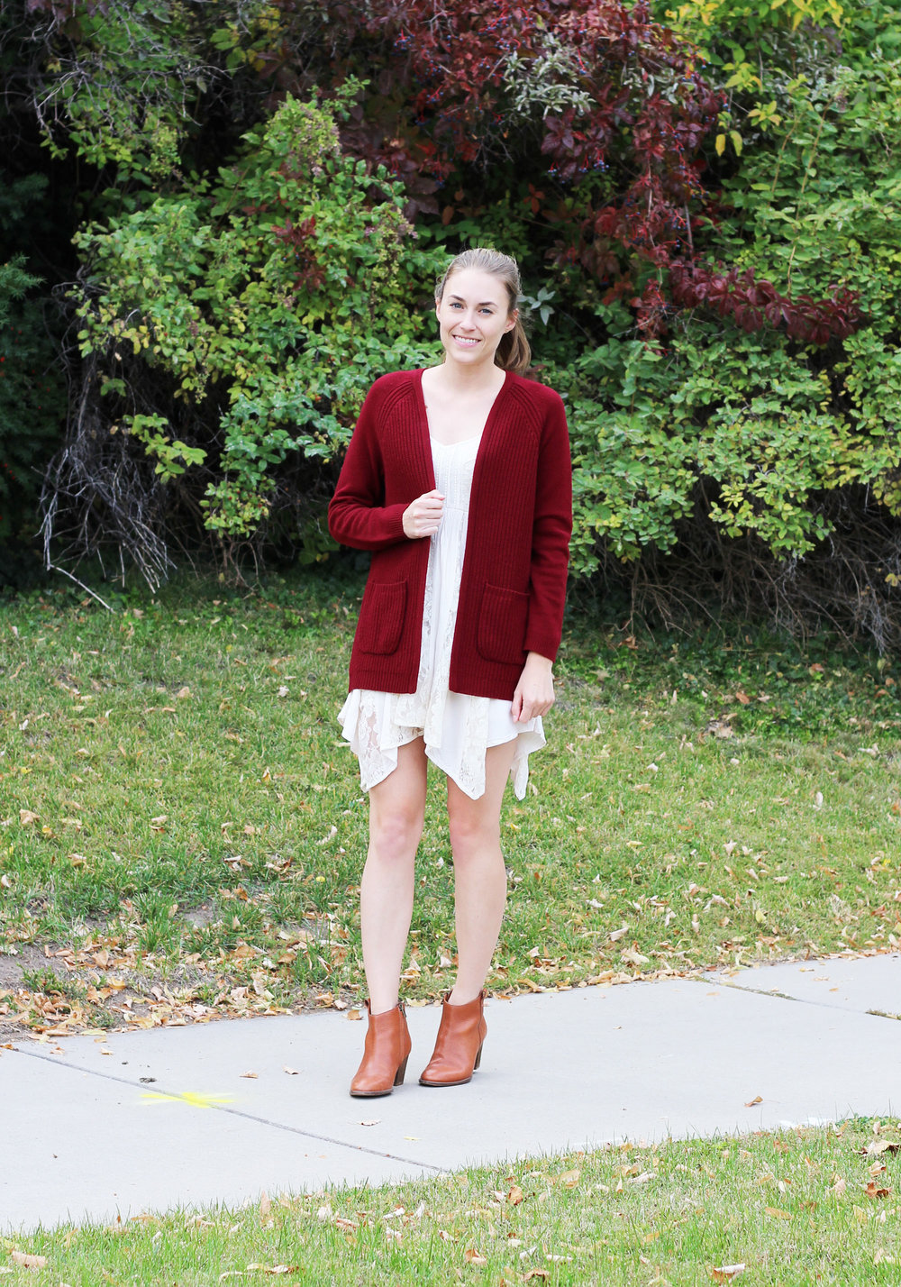 Fall outfit with dark red cardigan, lace dress, ankle boots — Cotton Cashmere Cat Hair