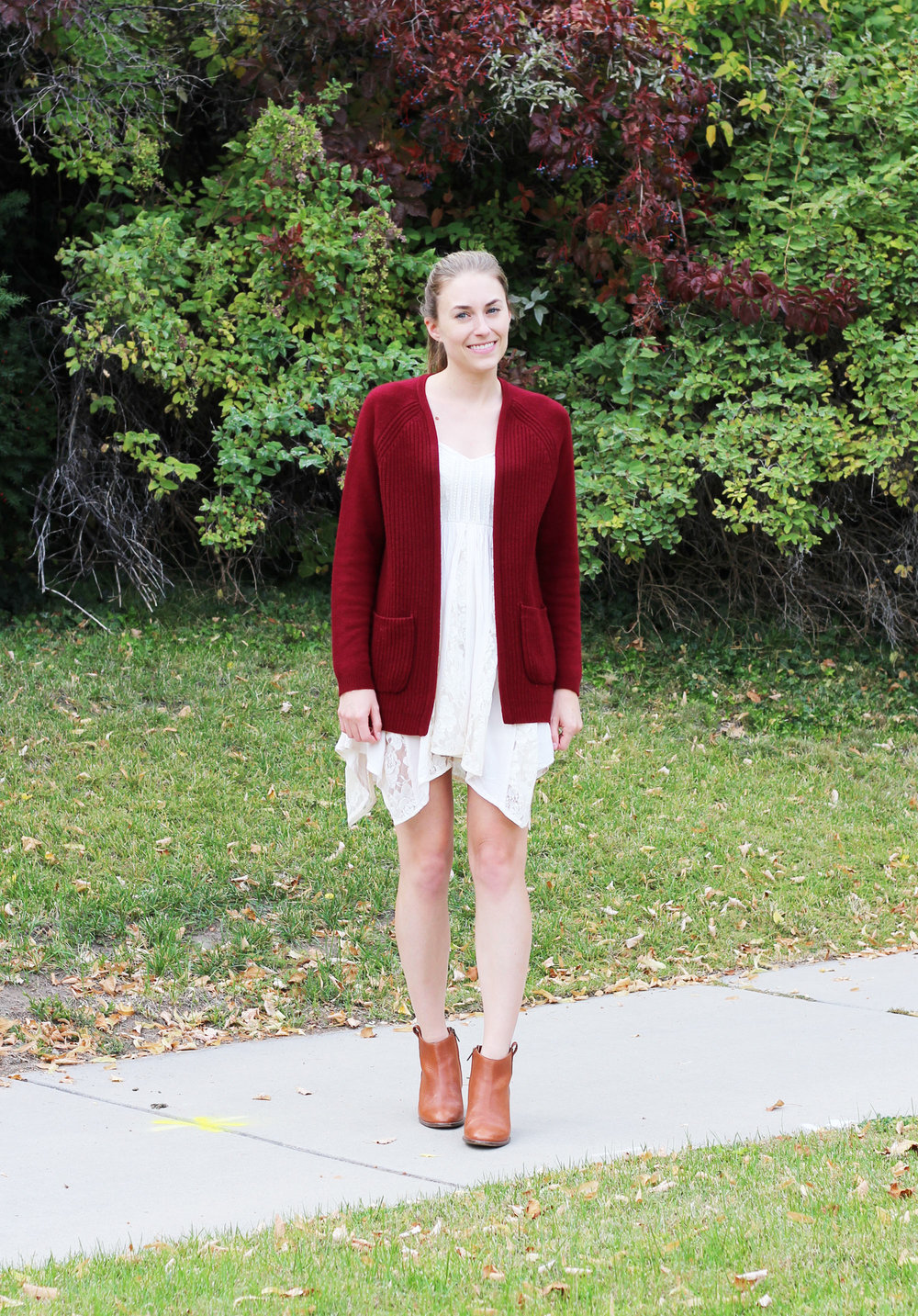 Burgundy cardigan outfit with lace dress and brown ankle boots — Cotton Cashmere Cat Hair