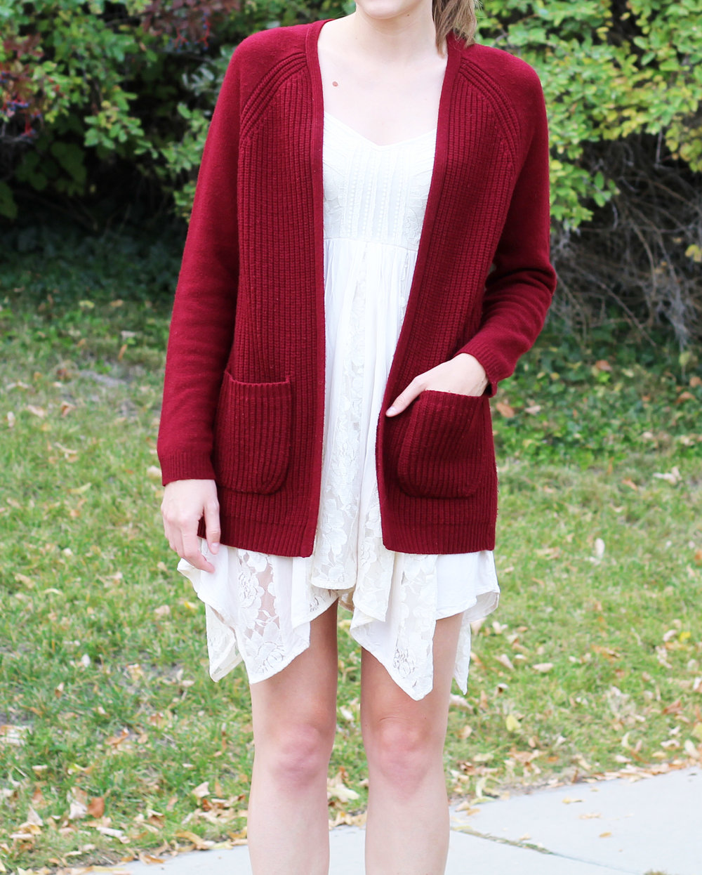Fall outfit with burgundy cardigan and lace dress — Cotton Cashmere Cat Hair