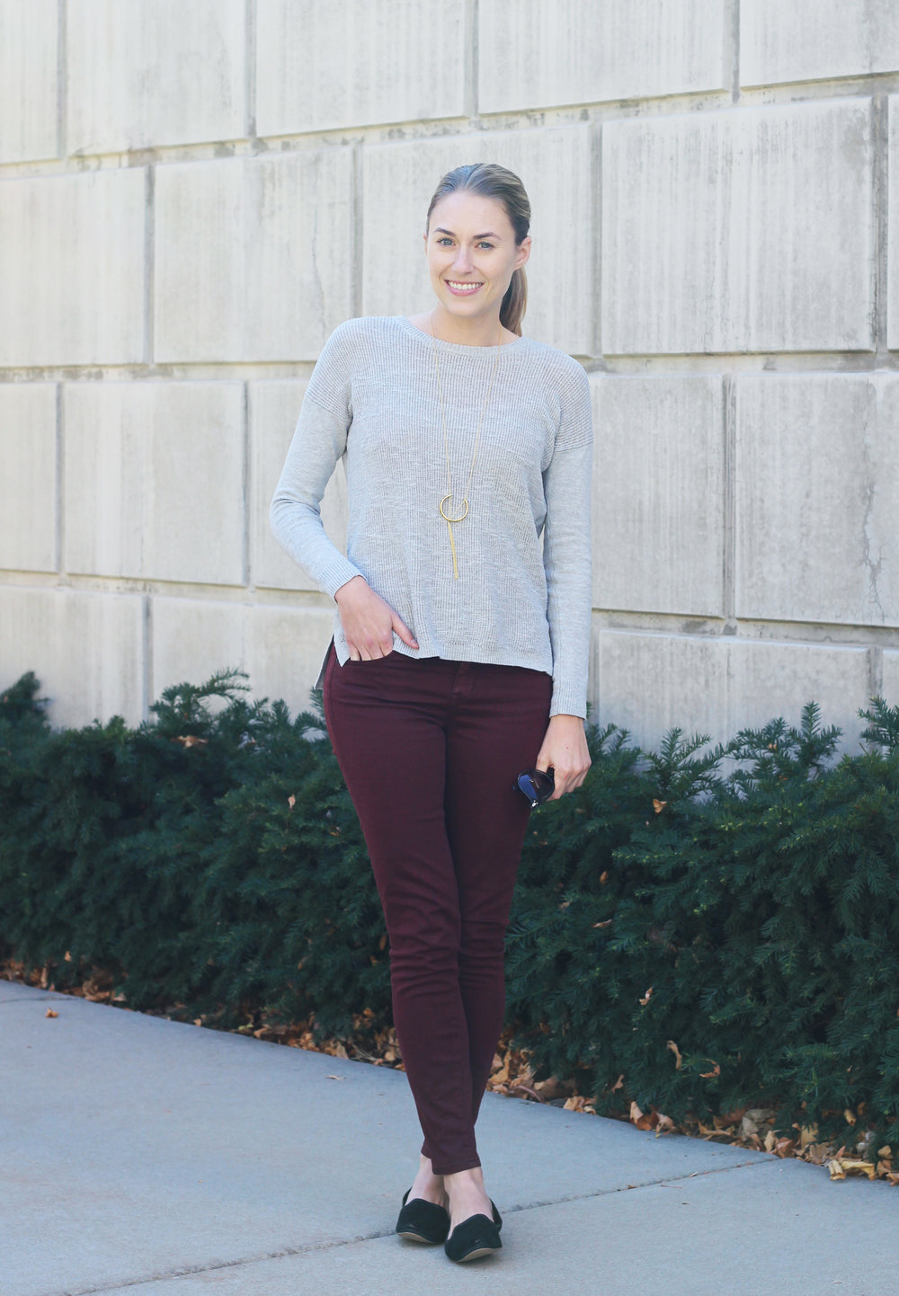 Fall outfit with grey sweater, burgundy pants, black loafers, pendant necklace — Cotton Cashmere Cat Hair