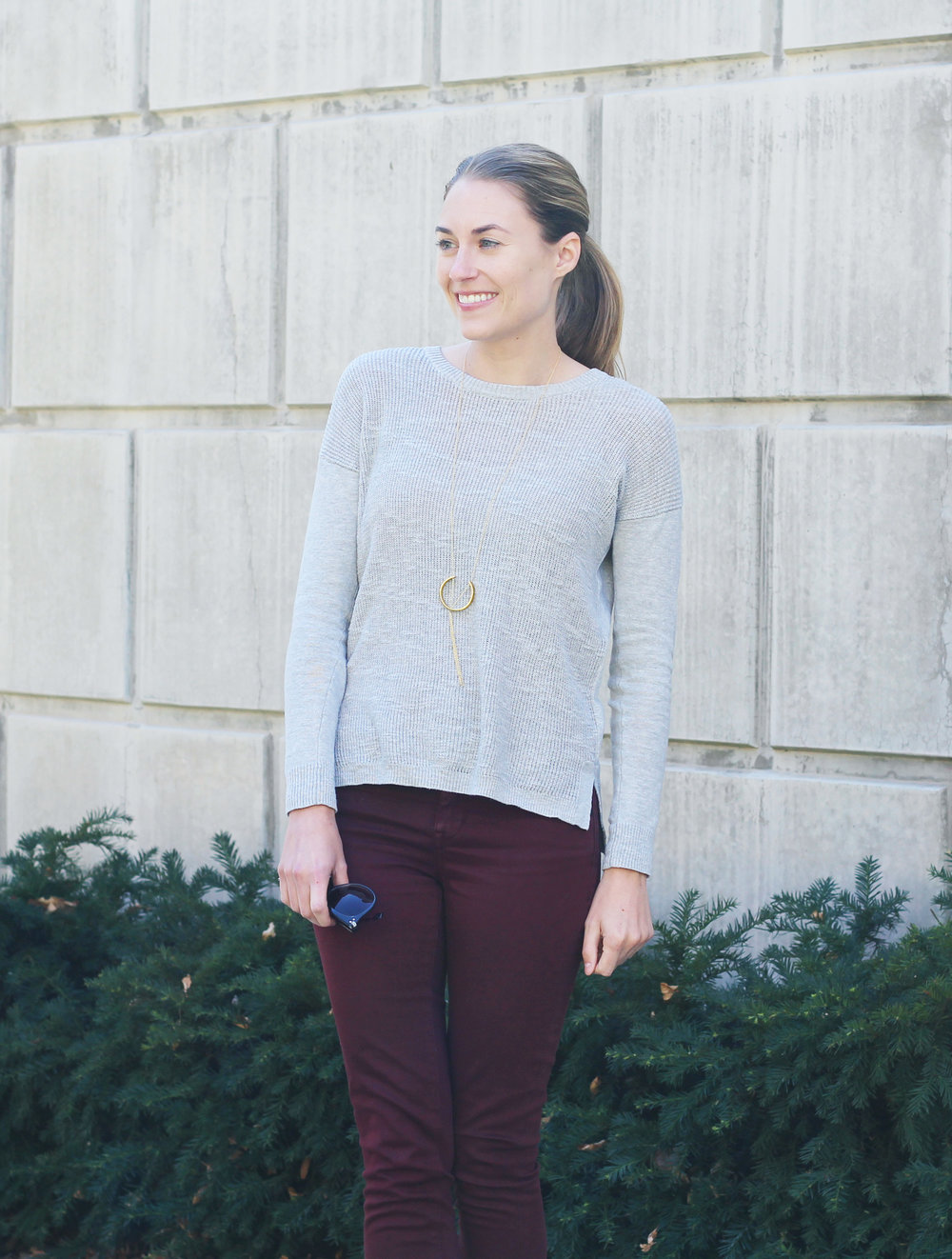 Soko 'Hewa' pendant necklace with Madewell sweater and burgundy pants — Cotton Cashmere Cat Hair