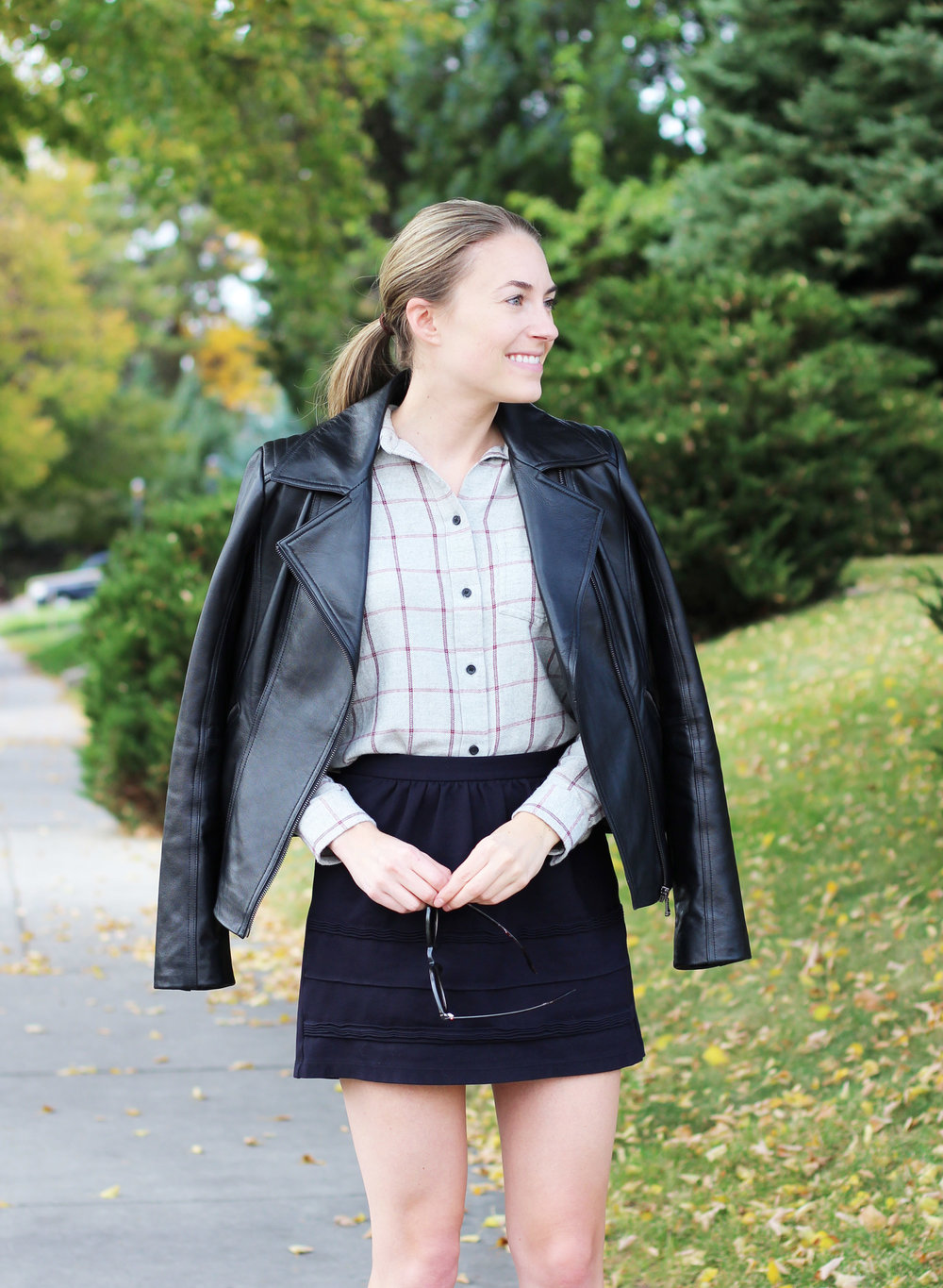 Black leather jacket with grey flannel shirt and black mini skirt — Cotton Cashmere Cat Hair
