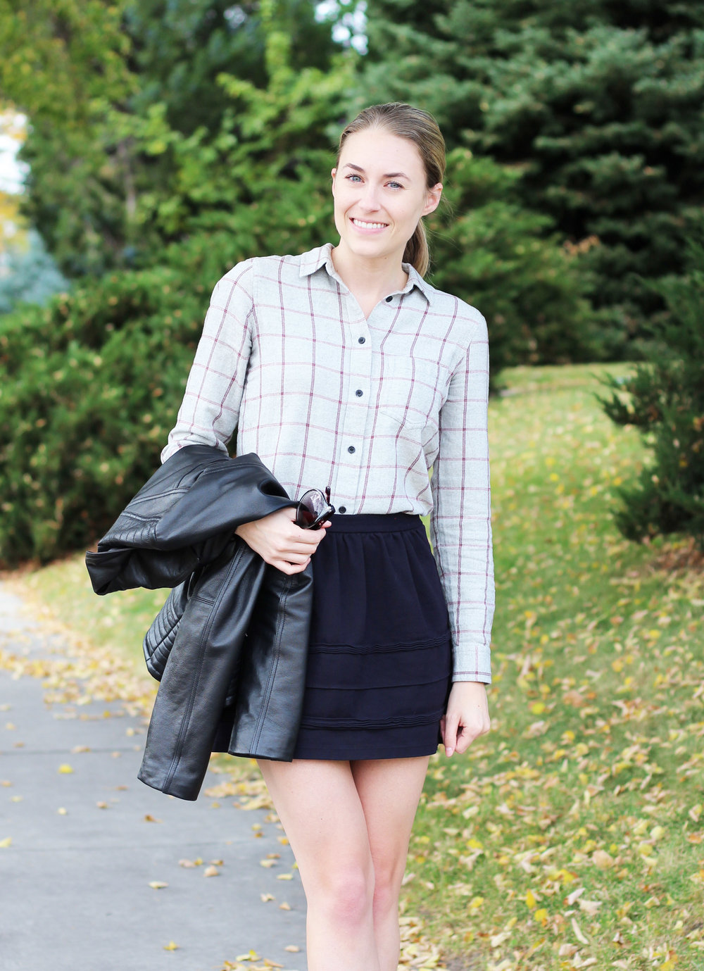 Grey flannel shirt outfit with leather jacket and black mini skirt — Cotton Cashmere Cat Hair
