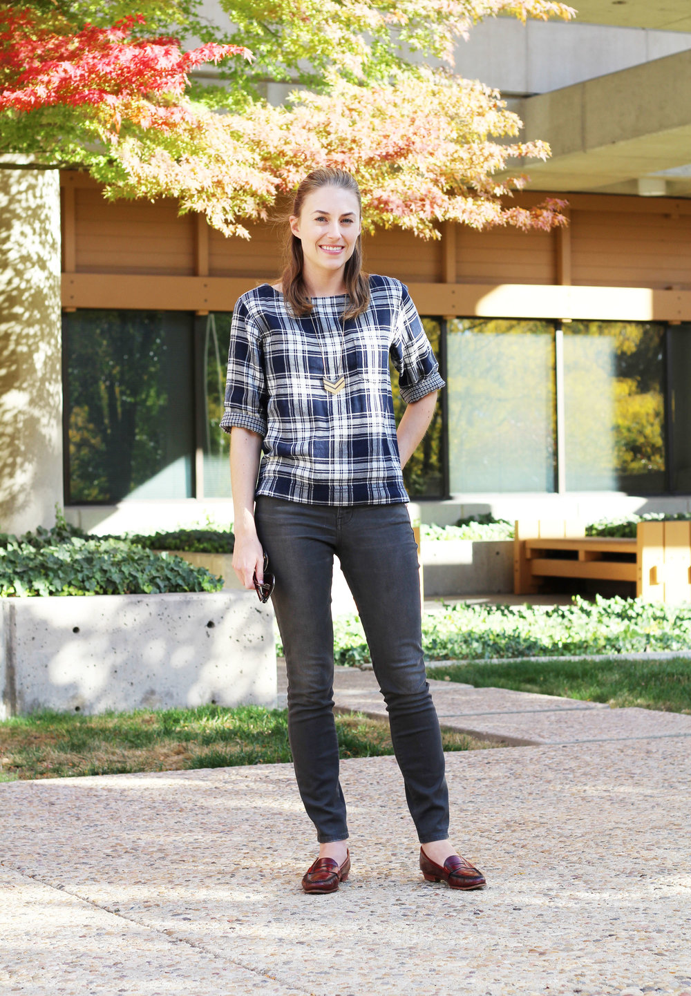 Fall outfit with navy plaid, grey skinny jeans, red loafers — Cotton Cashmere Cat Hair