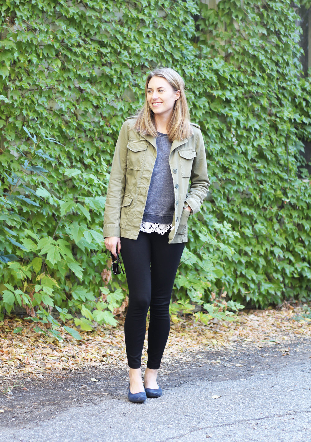 Fall layers: Utility jacket, sweatshirt, lace top — Cotton Cashmere Cat Hair