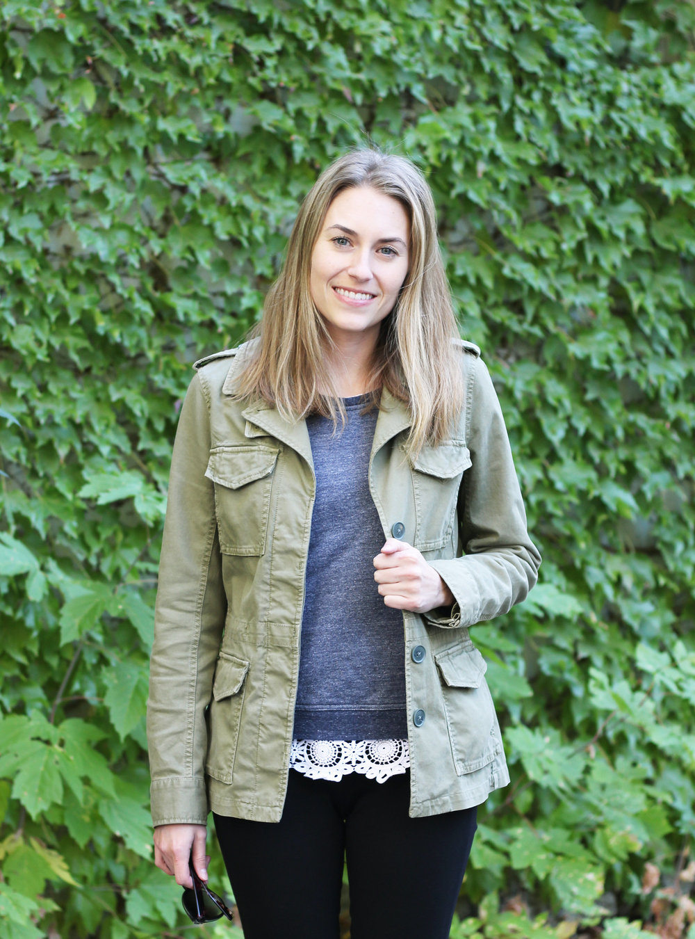 Army green utility jacket + navy sweater + lace top — Cotton Cashmere Cat Hair