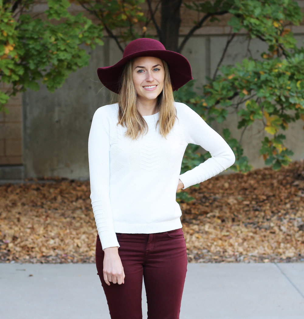 Burgundy floppy hat outfit with ivory sweater and burgundy pants — Cotton Cashmere Cat Hair