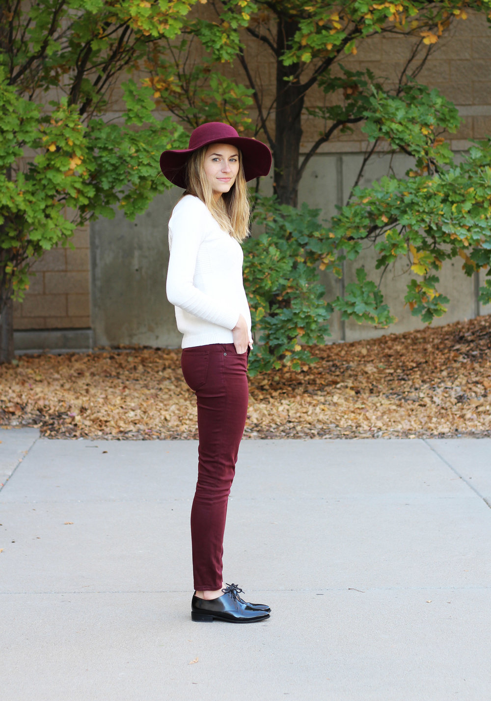 Burgundy fall outfit inspiration — Cotton Cashmere Cat Hair