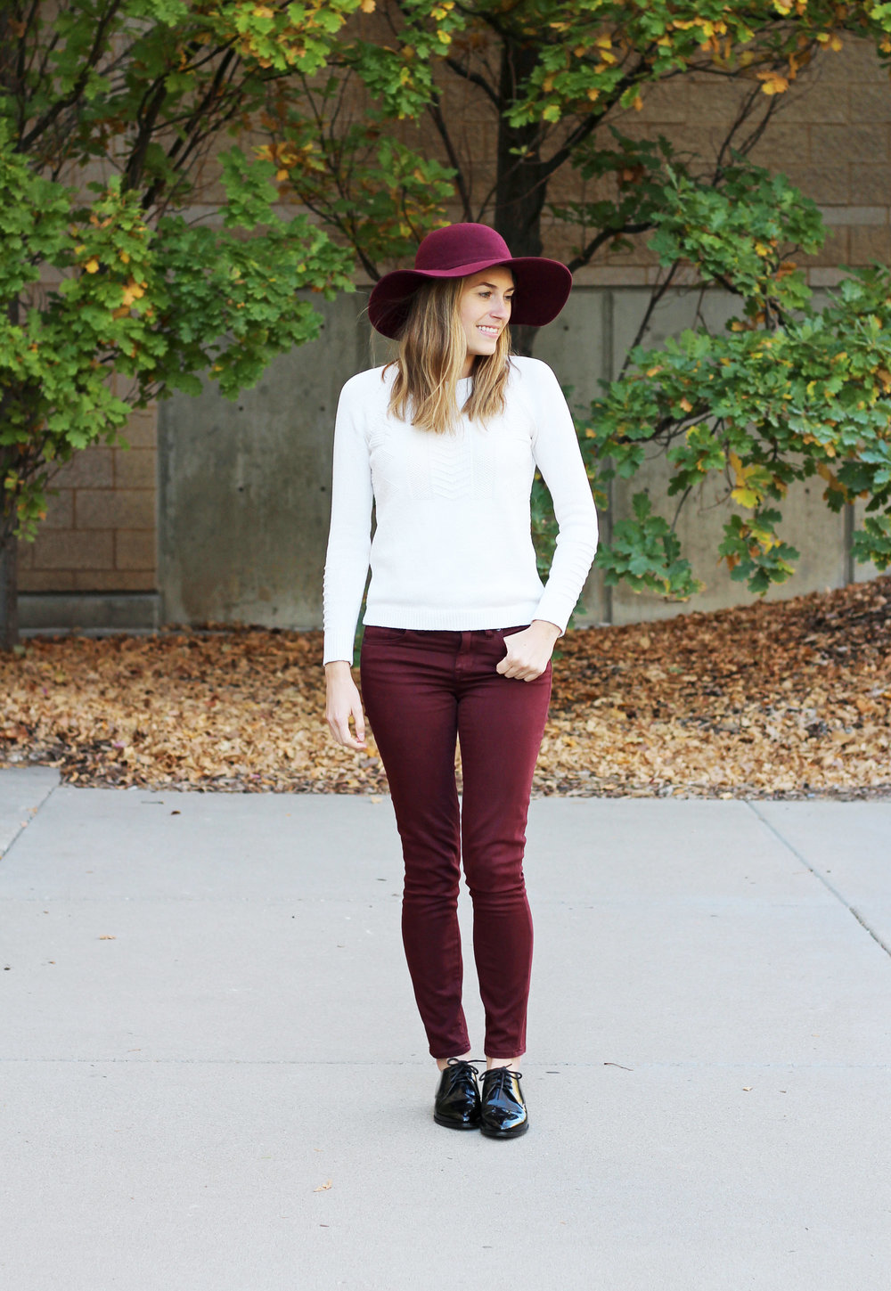 Burgundy floppy hat, ivory sweater, burgundy pants, black oxfords — Cotton Cashmere Cat Hair