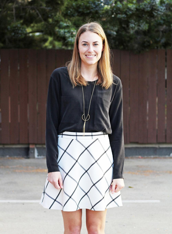 Black silk top + windowpane skirt + pendant necklace — Cotton Cashmere Cat Hair