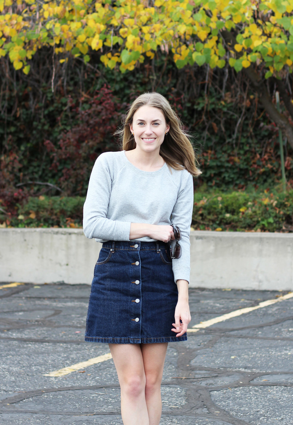 Denim skirt outfit with grey sweatshirt — Cotton Cashmere Cat Hair