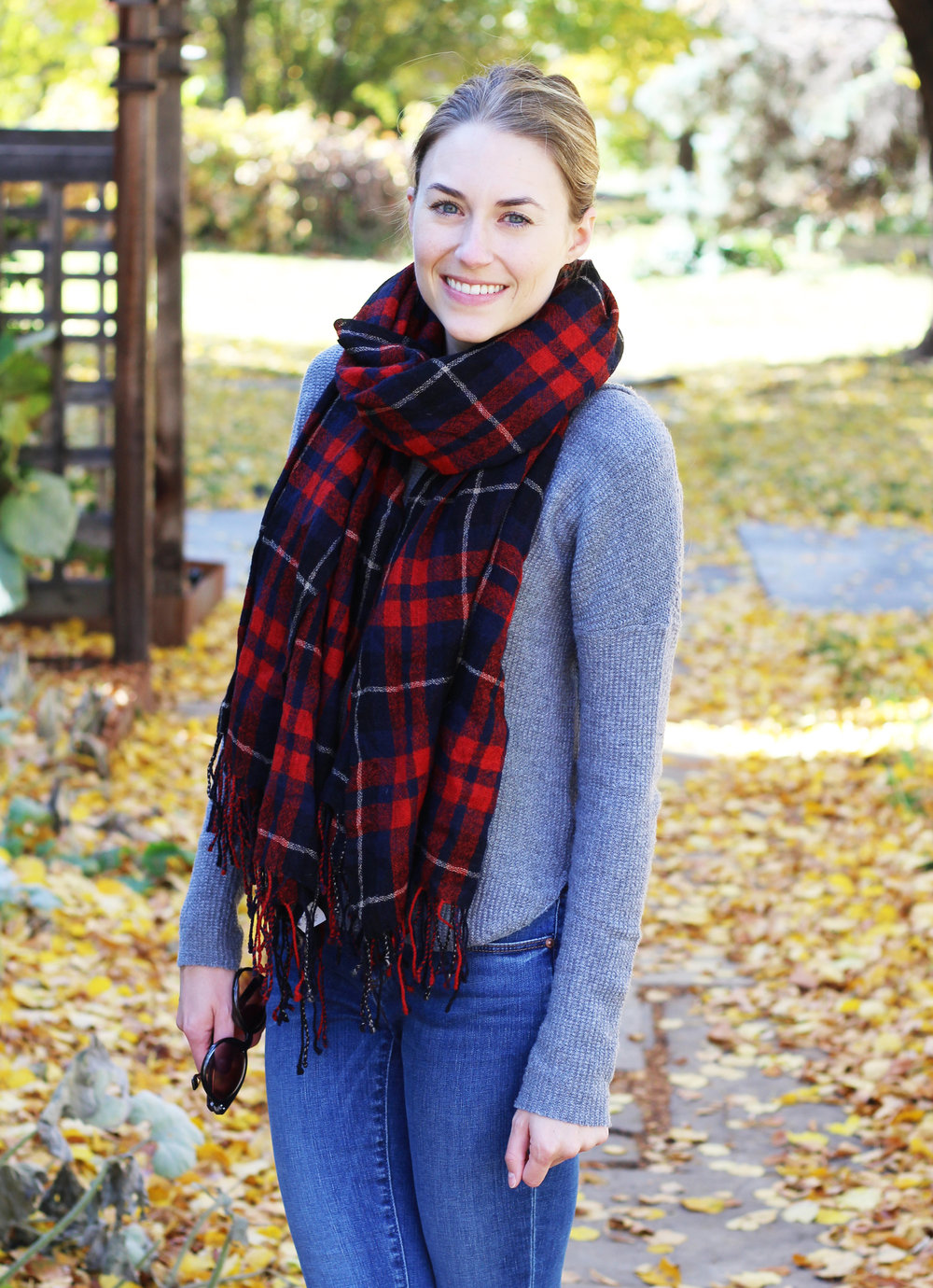 Red plaid scarf outfit with grey sweater and skinny jeans — Cotton Cashmere Cat Hair