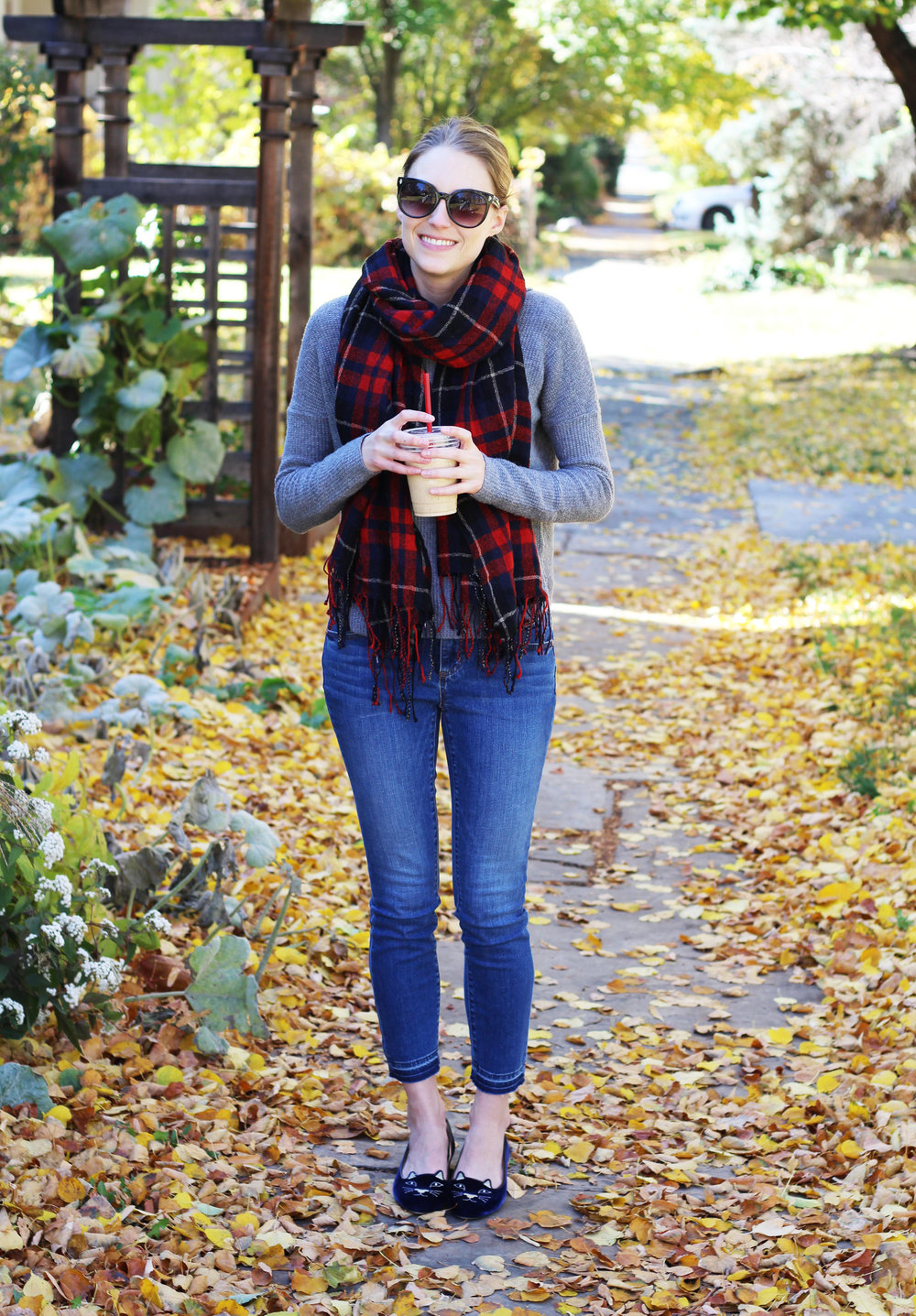 Fall outfit with red plaid scarf, grey sweater, skinny jeans, navy Kitty flats — Cotton Cashmere Cat Hair