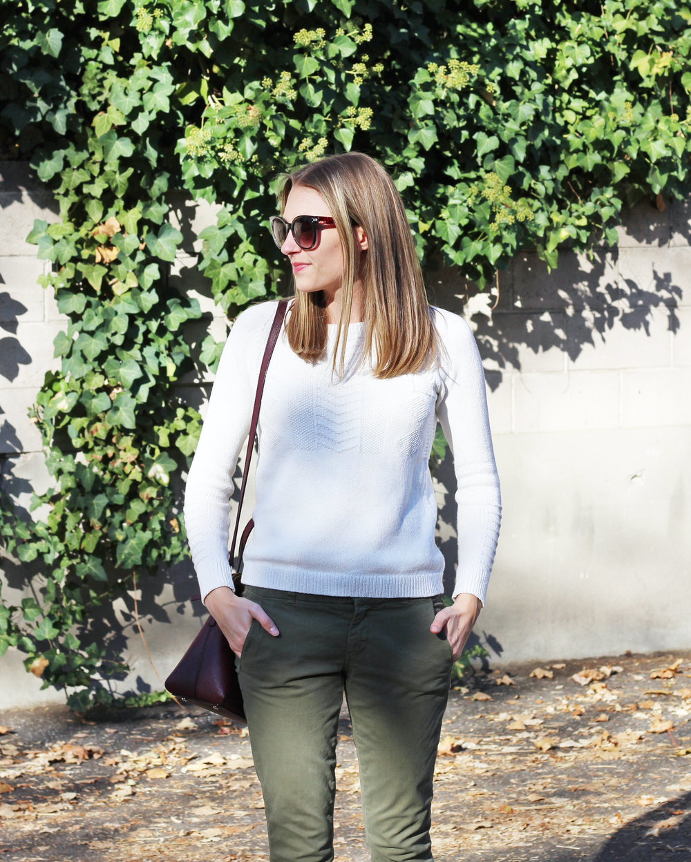 Fall outfit: Ivory sweater, army green pants, burgundy bag — Cotton Cashmere Cat Hair