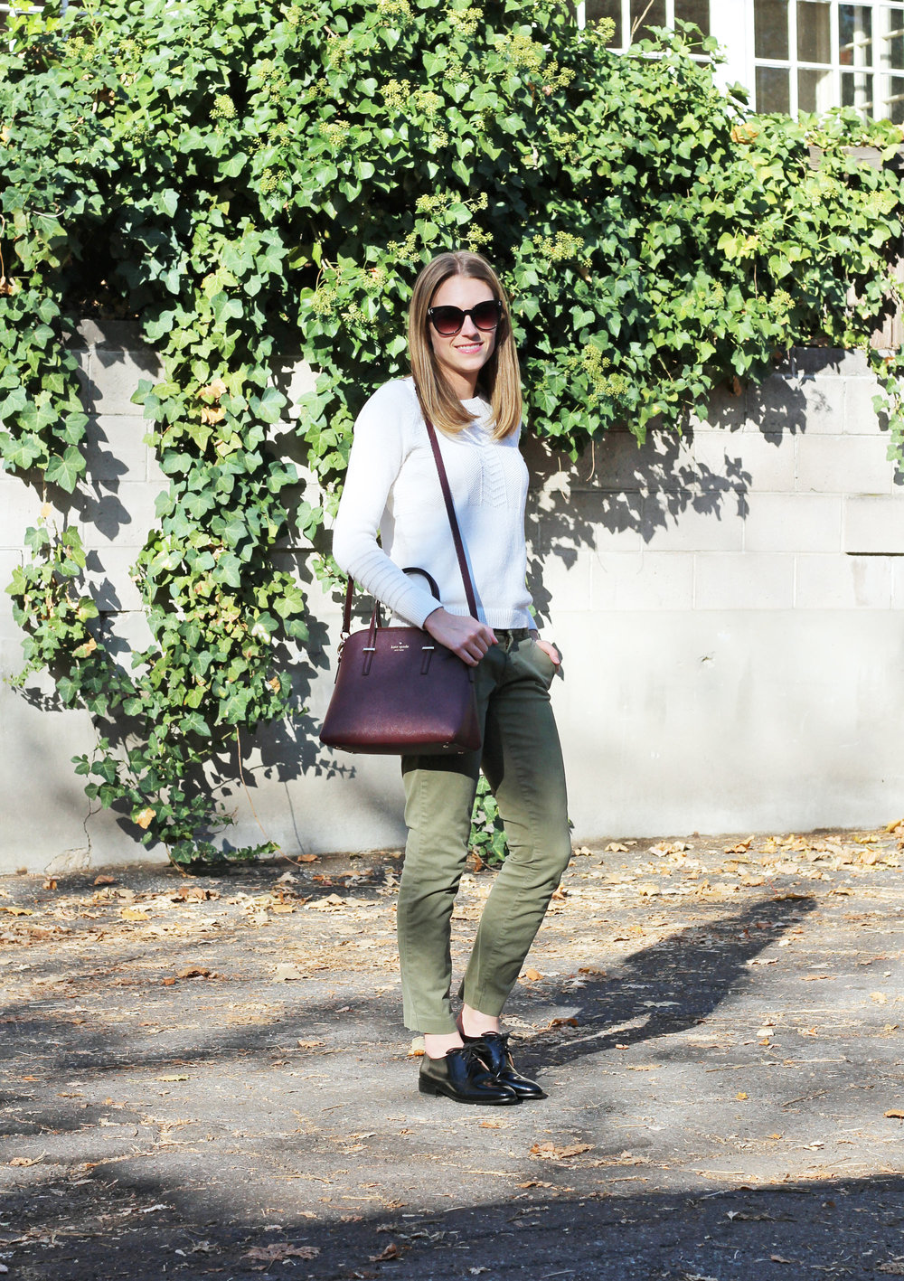 Ivory sweater, army green pants, black oxfords, burgundy bag — Cotton Cashmere Cat Hair