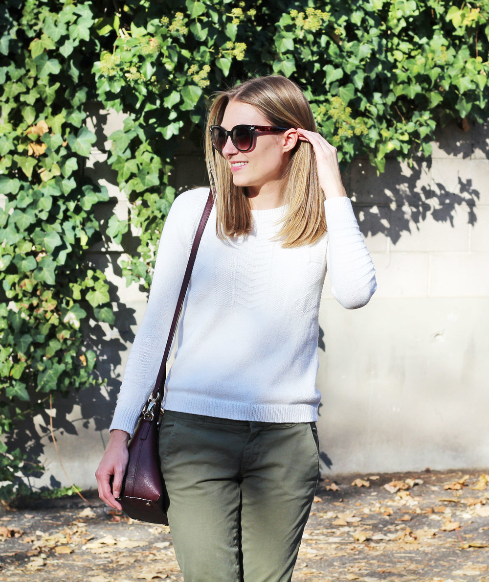 Ivory sweater + army green pants + burgundy bag — Cotton Cashmere Cat Hair