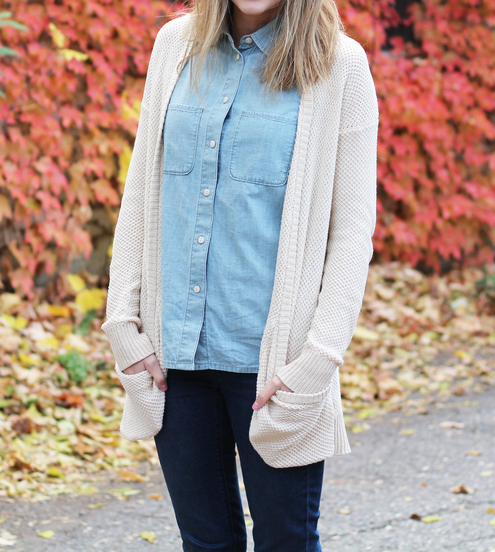 Chambray shirt outfit with beige cardigan and skinny jeans — Cotton Cashmere Cat Hair