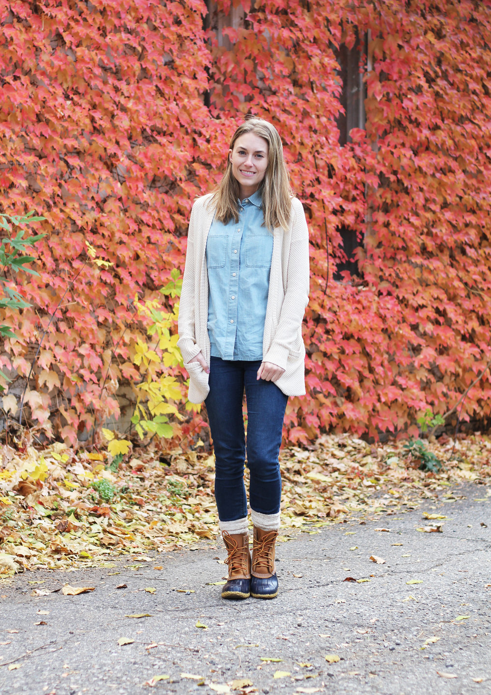 Bean boot outfit with chambray shirt, skinny jeans, cozy cardigan — Cotton Cashmere Cat Hair