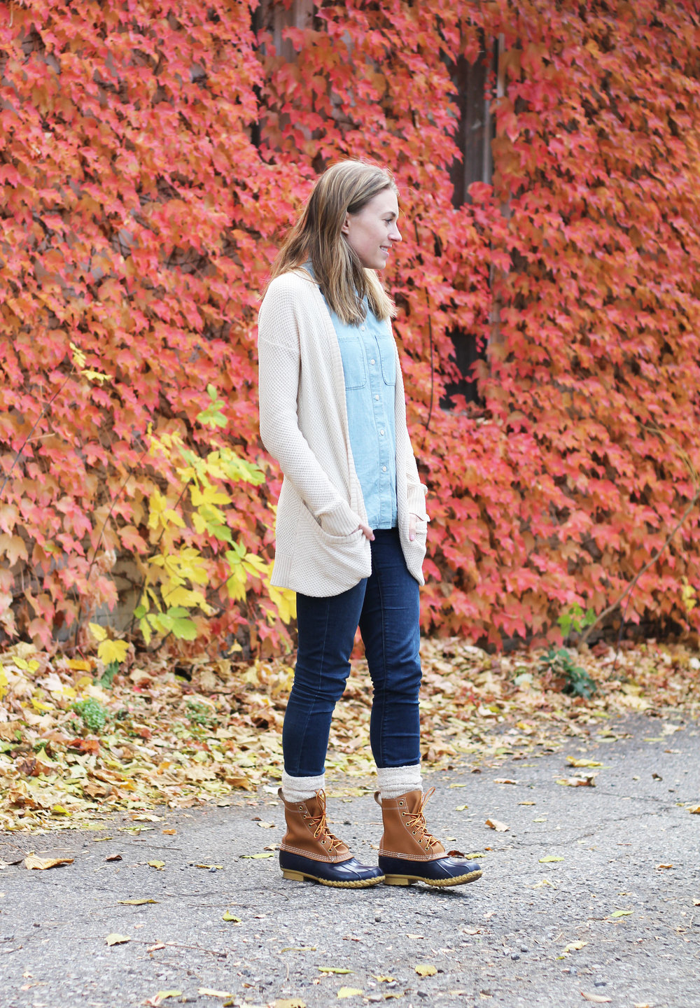 Fall outfit with L.L. Bean boots — Cotton Cashmere Cat Hair