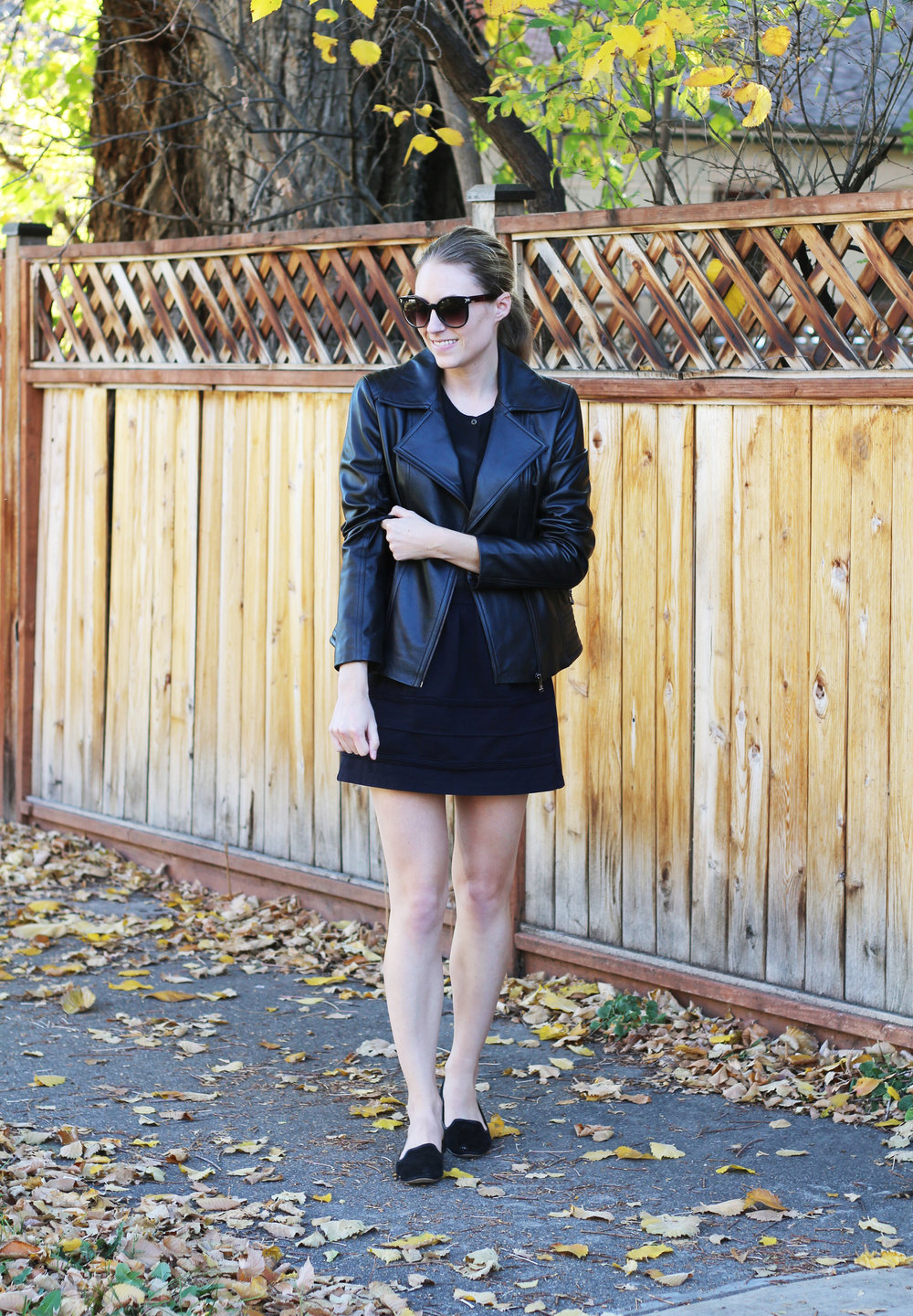 All black fall outfit with leather jacket, silk shirt, mini skirt, loafers — Cotton Cashmere Cat Hair