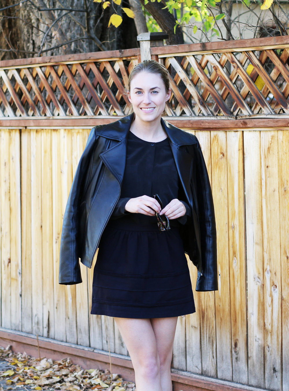 Black leather jacket outfit with silk shirt and mini skirt — Cotton Cashmere Cat Hair