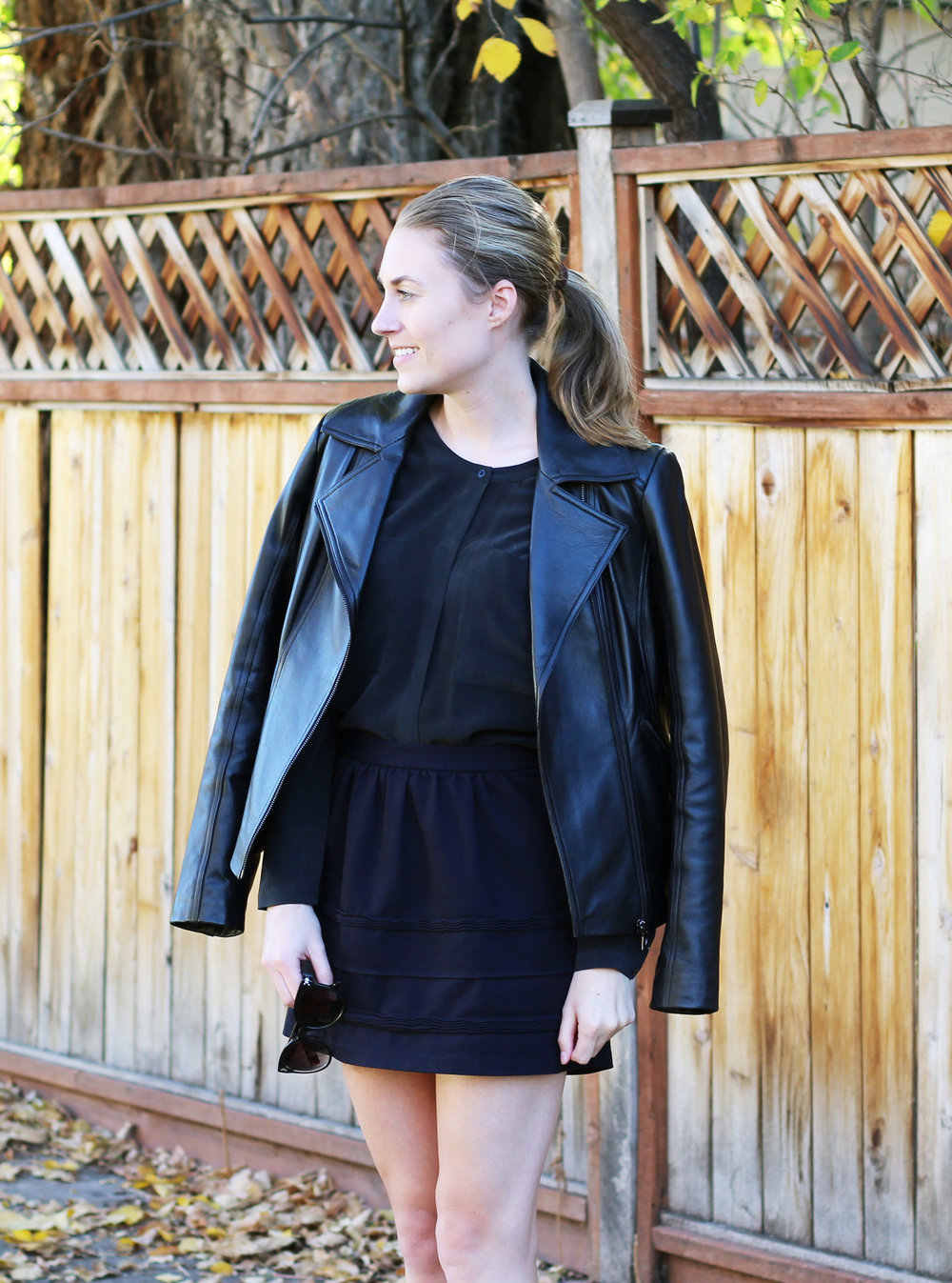 Guess leather jacket, Everlane silk shirt, J.Crew Factory mini skirt — Cotton Cashmere Cat Hair