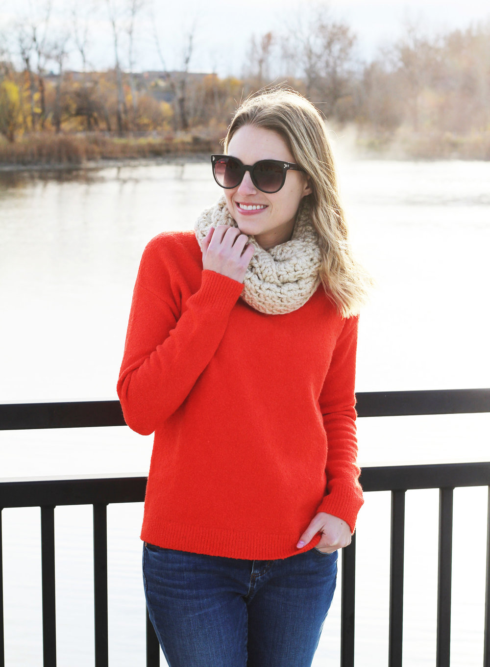 Red holiday sweater outfit — Cotton Cashmere Cat Hair