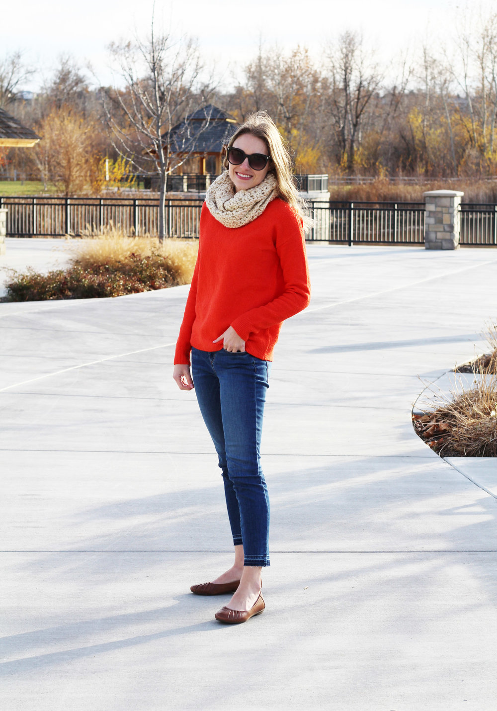 Earth 'Bellwether' flats with red sweater and skinny jeans — Cotton Cashmere Cat Hair
