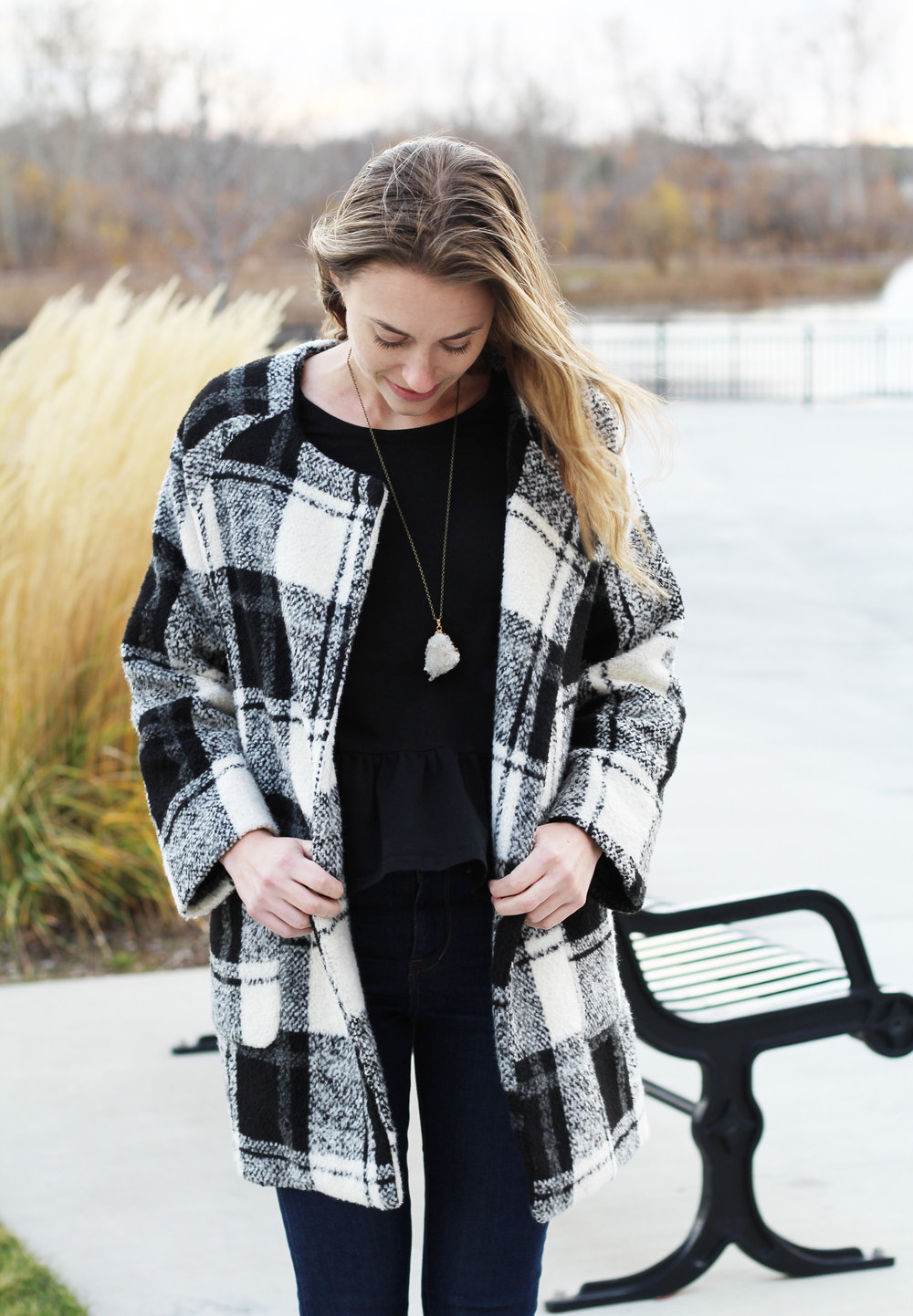 Black and white plaid coat outfit with black peplum top — Cotton Cashmere Cat Hair