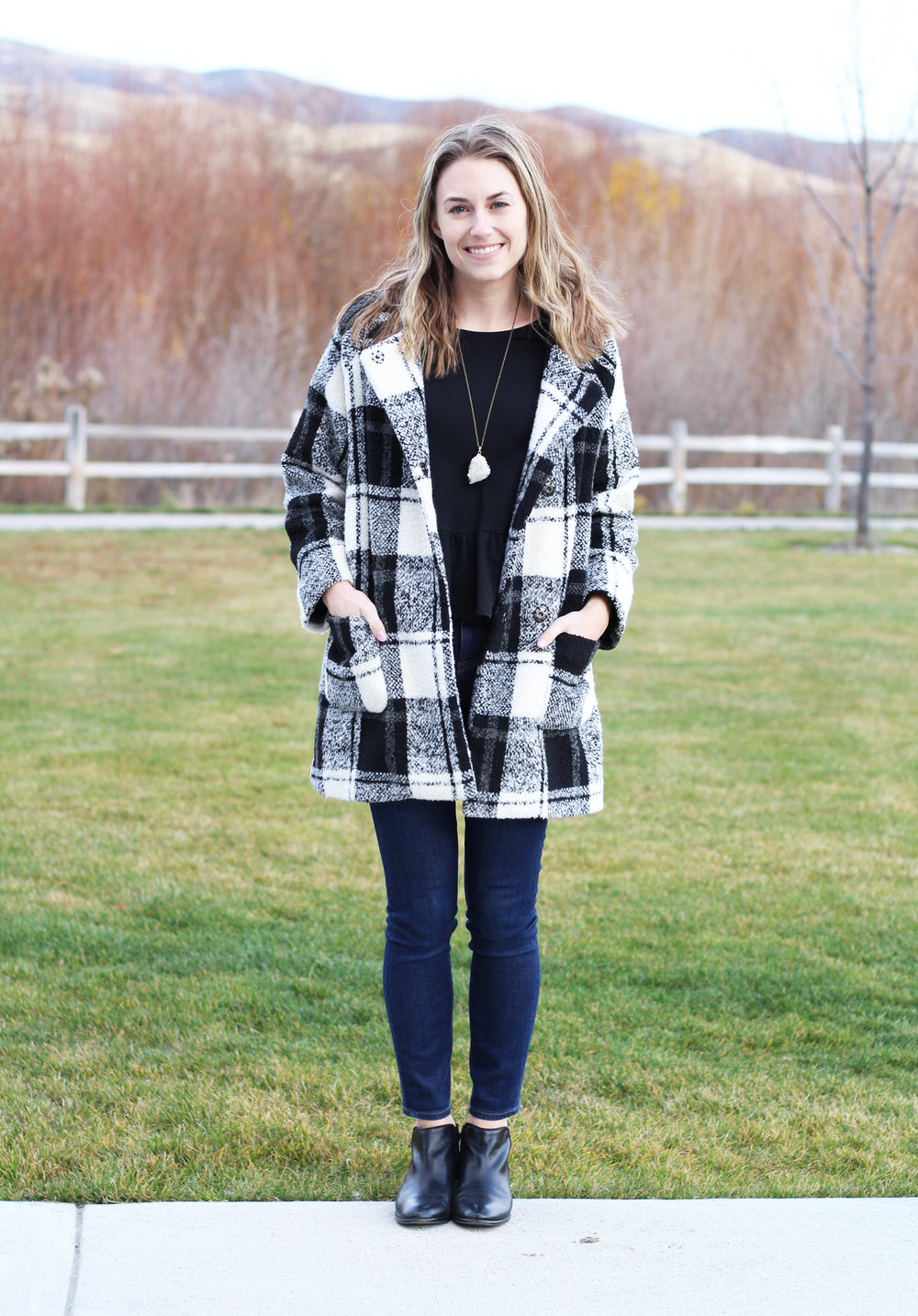 ModCloth plaid coat, black peplum top, high-rise skinny jeans, Sam Edelman ankle boots — Cotton Cashmere Cat Hair