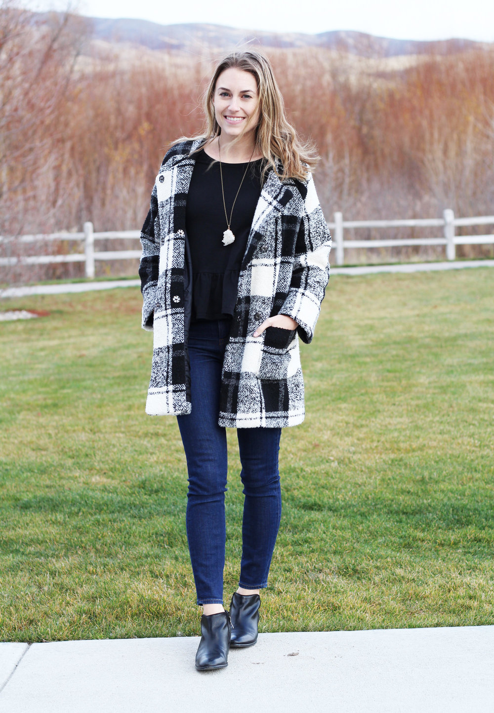 Plaid coat, peplum top, skinny jeans, ankle boots — Cotton Cashmere Cat Hair