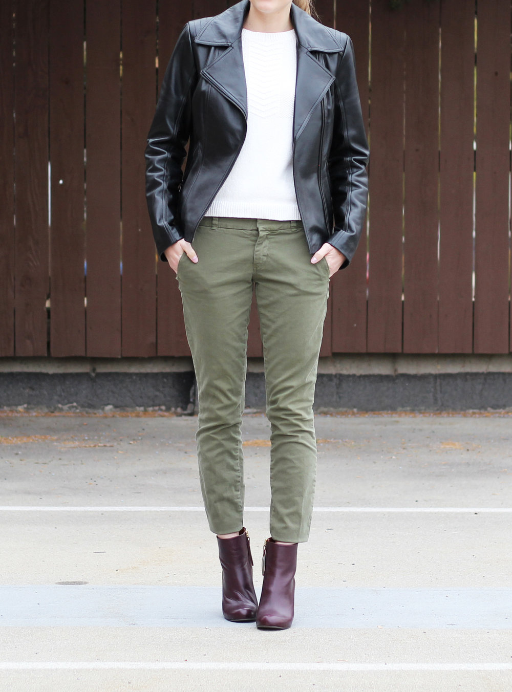 Leather jacket, ivory sweater, green pants, burgundy ankle boots — Cotton Cashmere Cat Hair