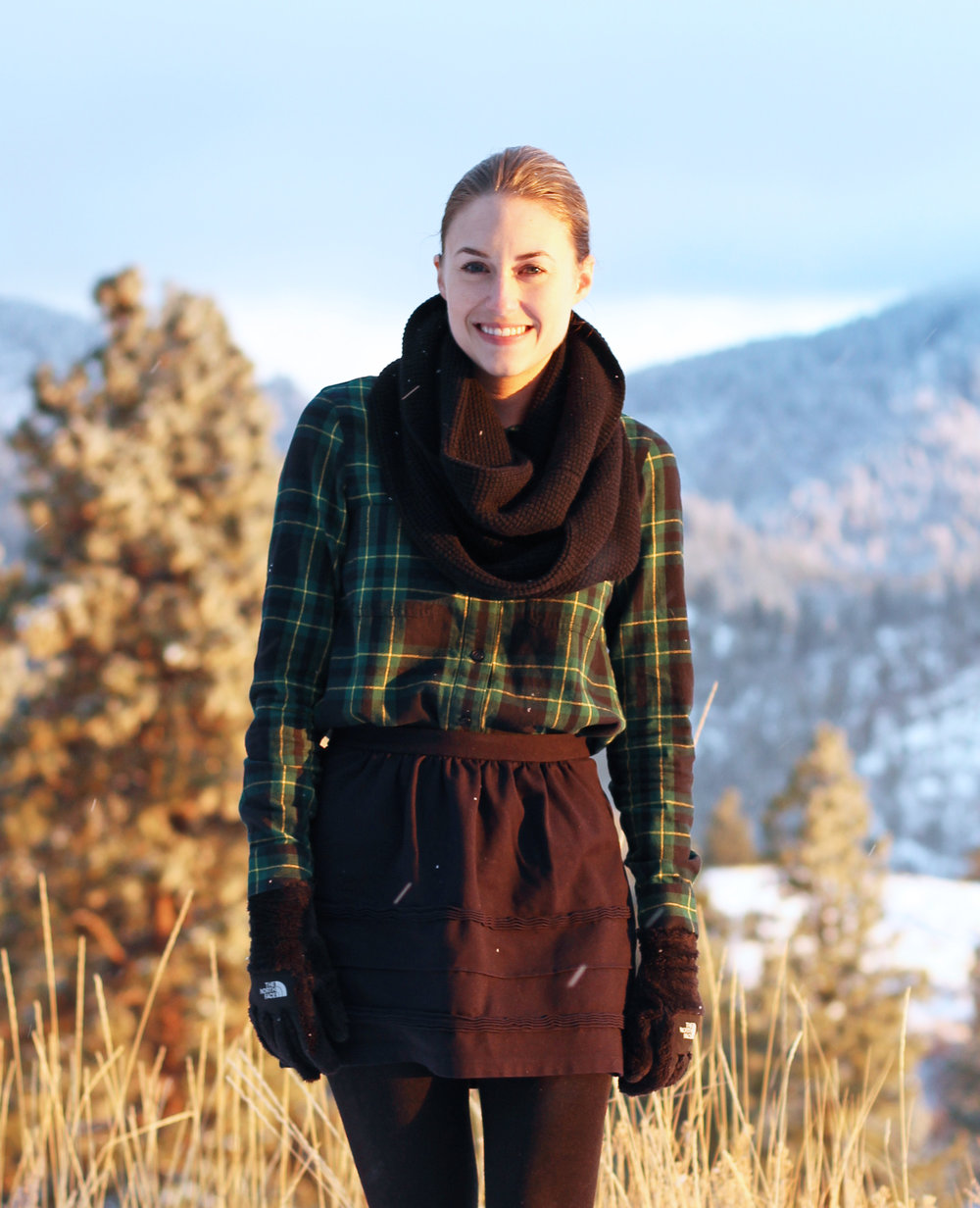 Winter outfit with plaid flannel shirt, black mini skirt, black scarf — Cotton Cashmere Cat Hair